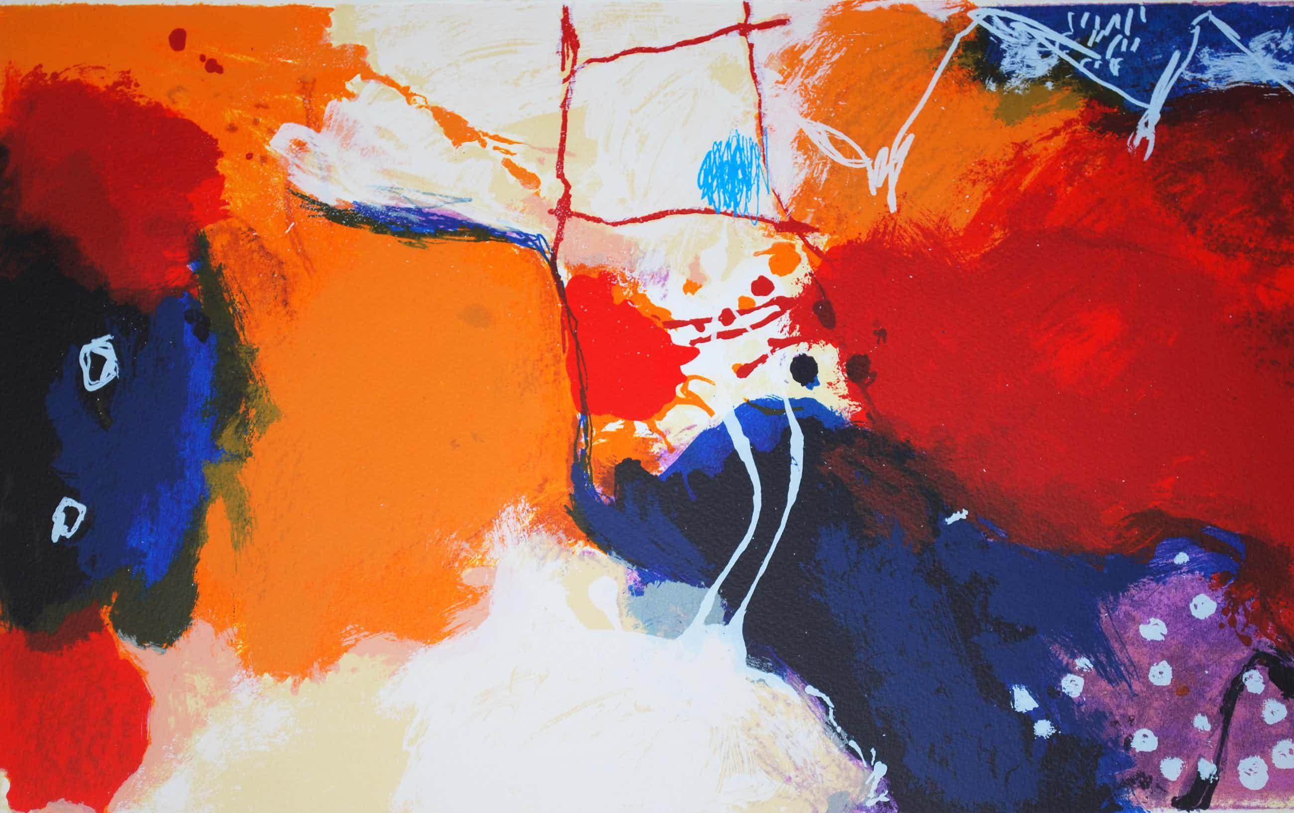 Alexander Vogels - Papaverveld - mooi ingelijste grote abstracte zeefdruk kopen? Bied vanaf 75!