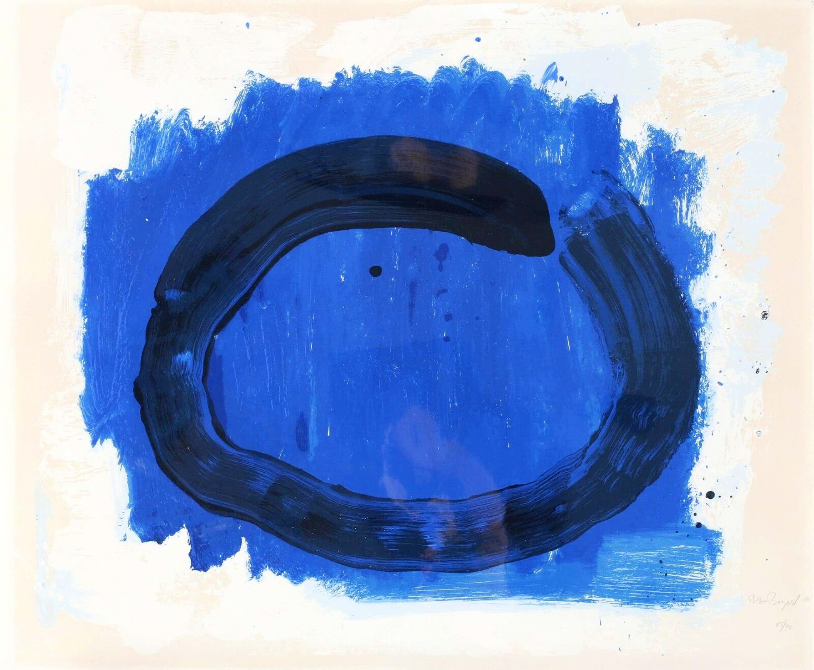 Bram Bogart - zwarte cirkel op blauw - zeefdruk uit 1980 - oplage: 90 ex. kopen? Bied vanaf 399!