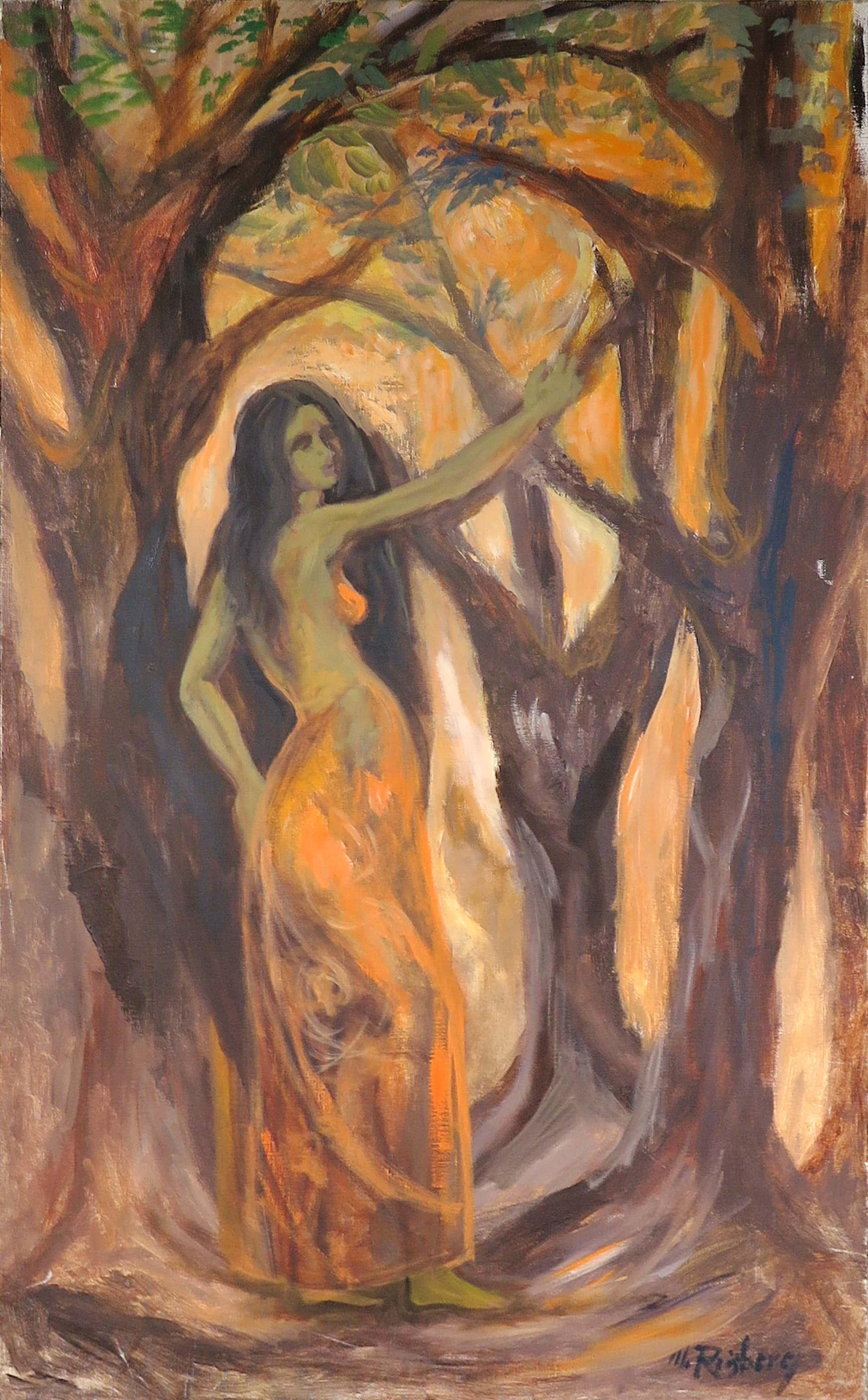 Martin Reisberg - Acryl op doek, Vrouwelijk figuur in bos (Groot) kopen? Bied vanaf 40!
