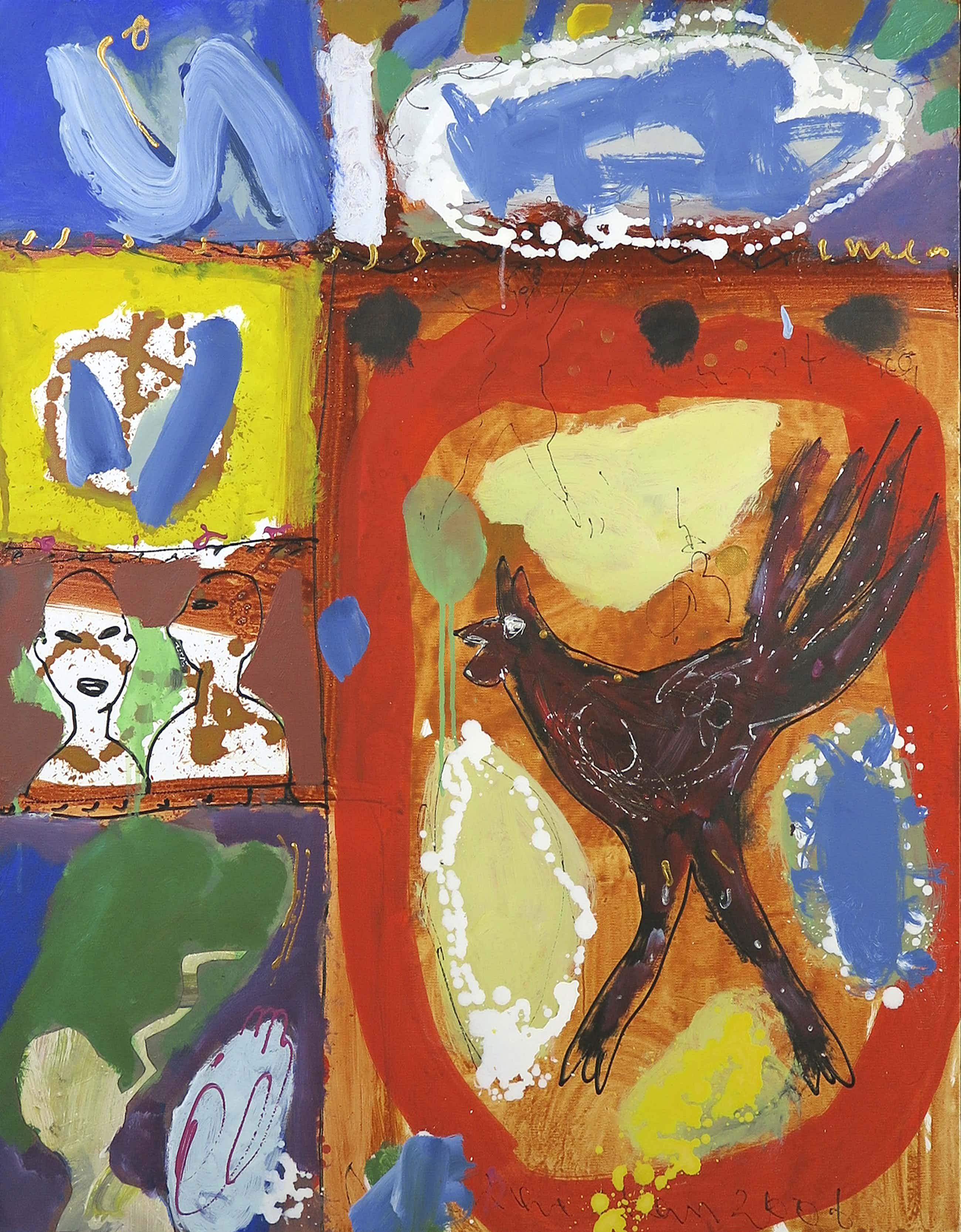 Dominique Chan - Acryl en collage op doek, Zonder titel (Groot) kopen? Bied vanaf 200!