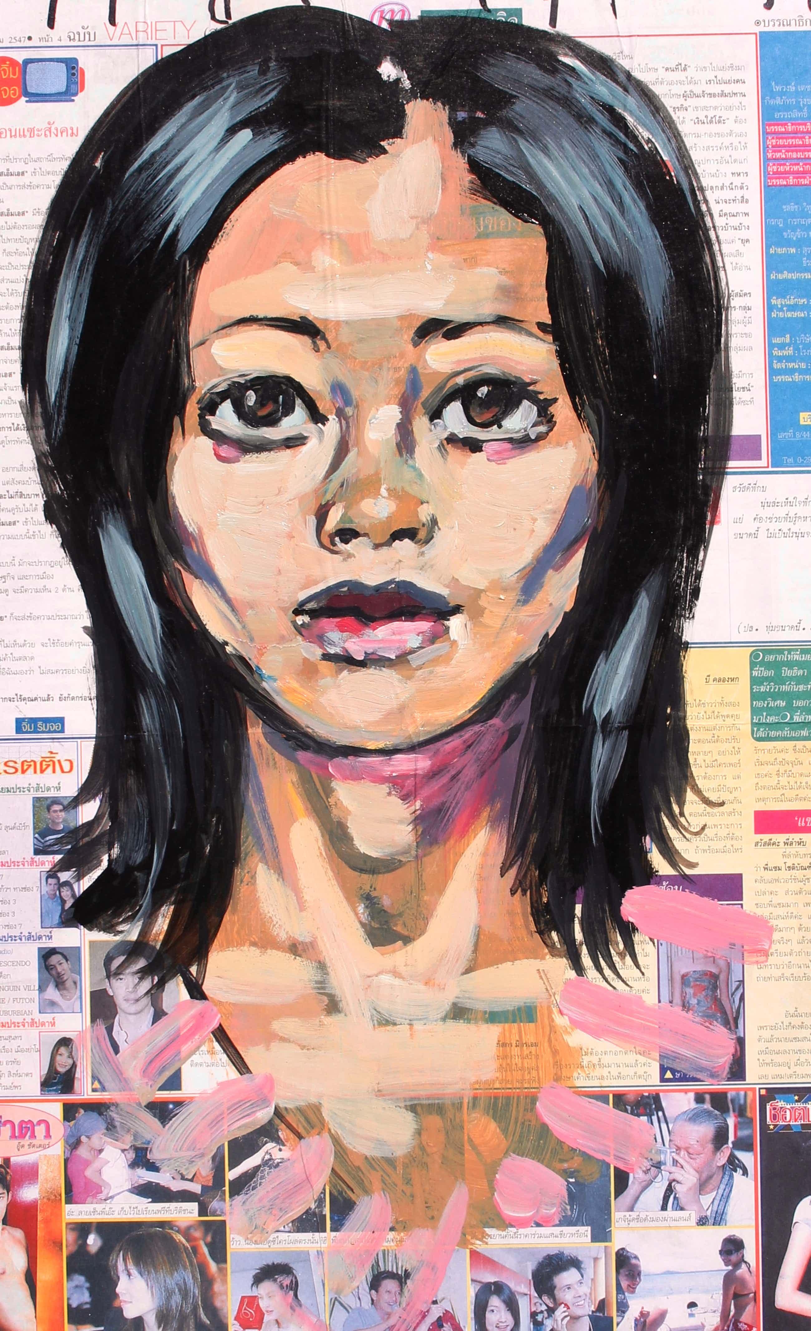 Peter Klashorst - ingelijst acryl op Thaise krant op board - 2004 kopen? Bied vanaf 199!