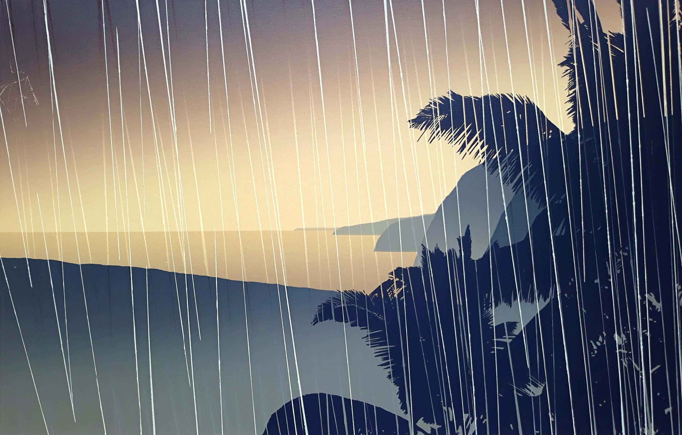 Jan Hendrix - Kustlijn in de regen, zeefdruk kopen? Bied vanaf 60!