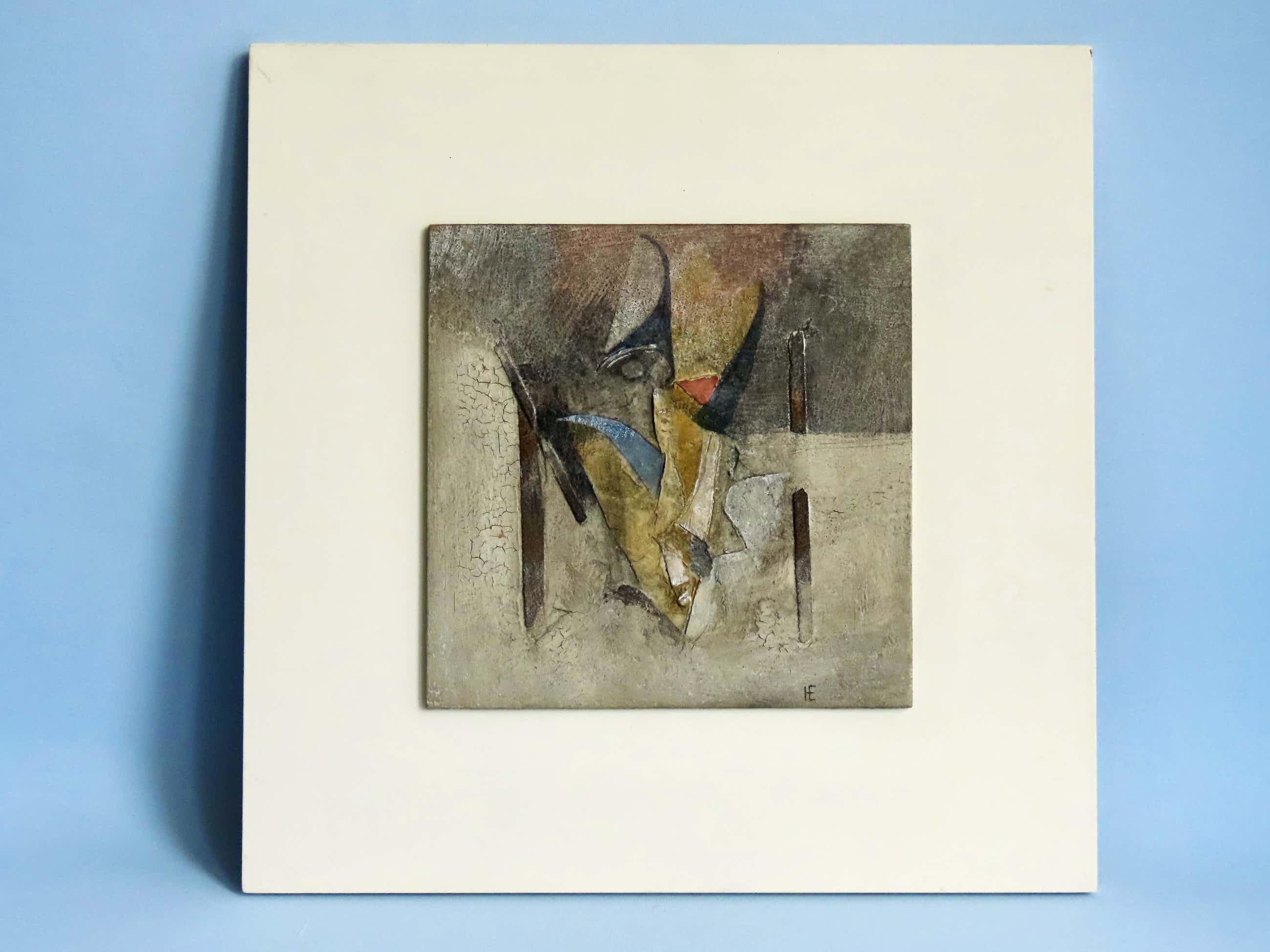 Henk Erkelens - Abstract werk in gemengde techniek - kleurrijk - gemerkt kopen? Bied vanaf 225!