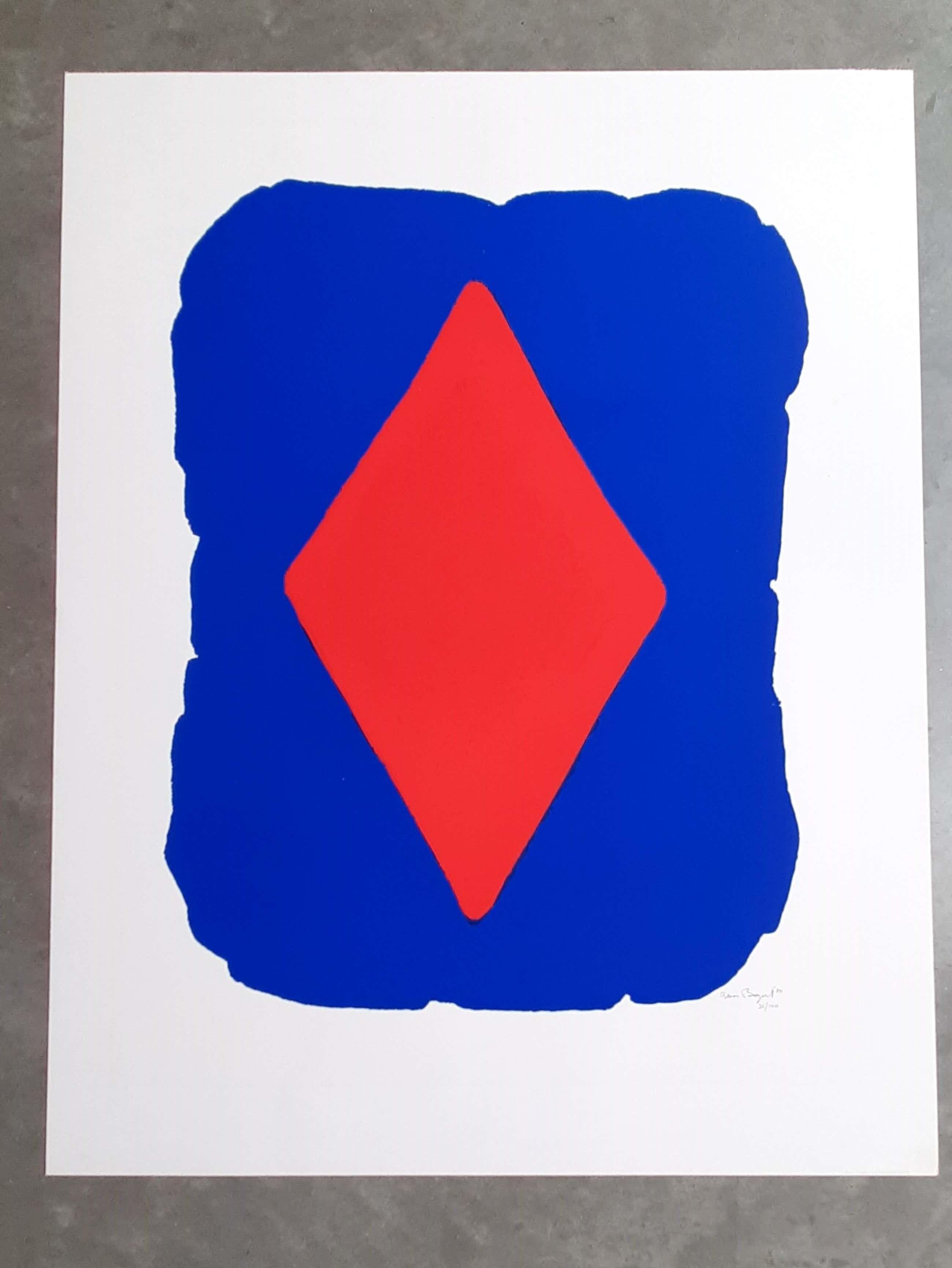 Bram Bogart - abstracte compositie - grote zeefdruk - 1980 - oplage 100 kopen? Bied vanaf 520!