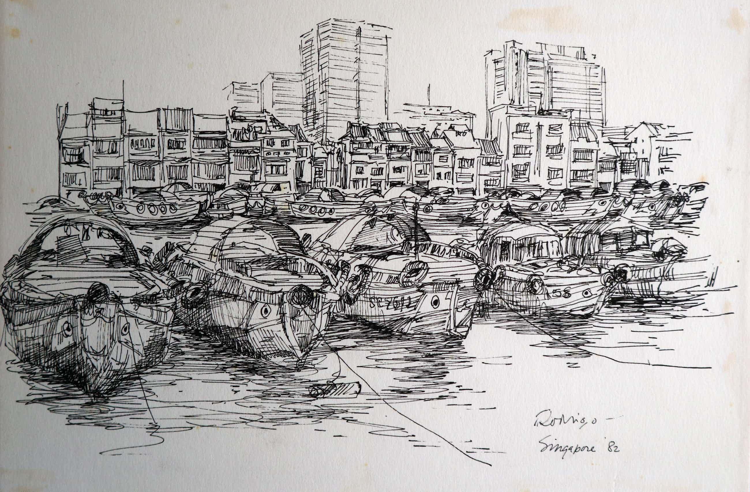 Jan Rodrigo - 2 x stadsgezicht. Singapore en Jakarta kopen? Bied vanaf 45!