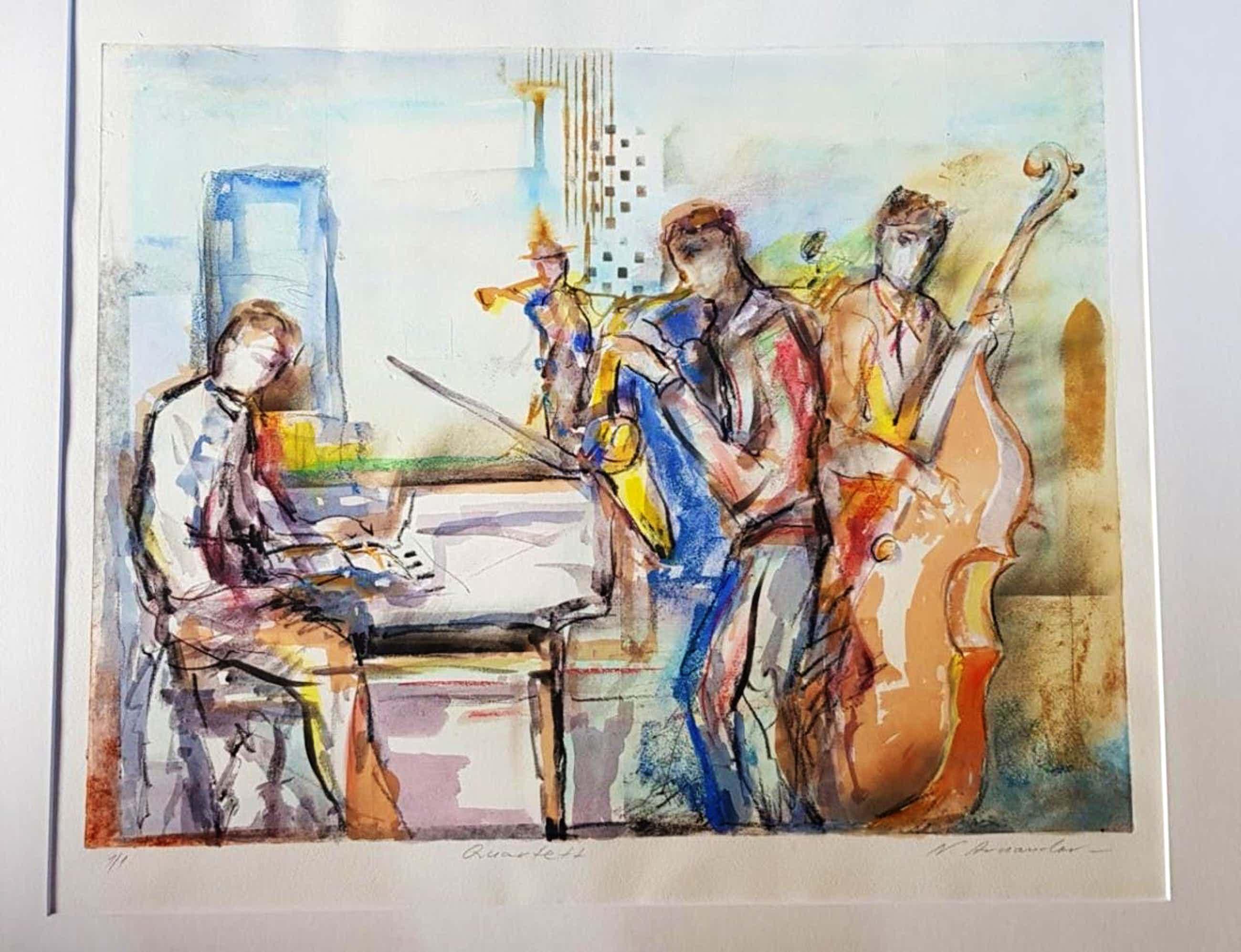 Nicolai Arnaudov - Quartett, Unikat-Radierung, handcoloriert kopen? Bied vanaf 170!