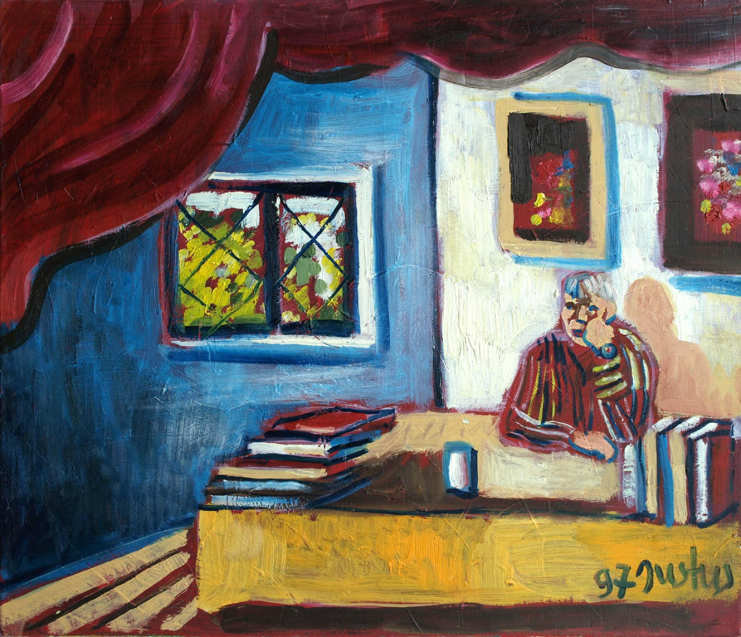 """Justus Donker - Olieverf op doek , """"De peinzende man"""" – gesigneerd – 1997 – 60 x 70 cm kopen? Bied vanaf 175!"""