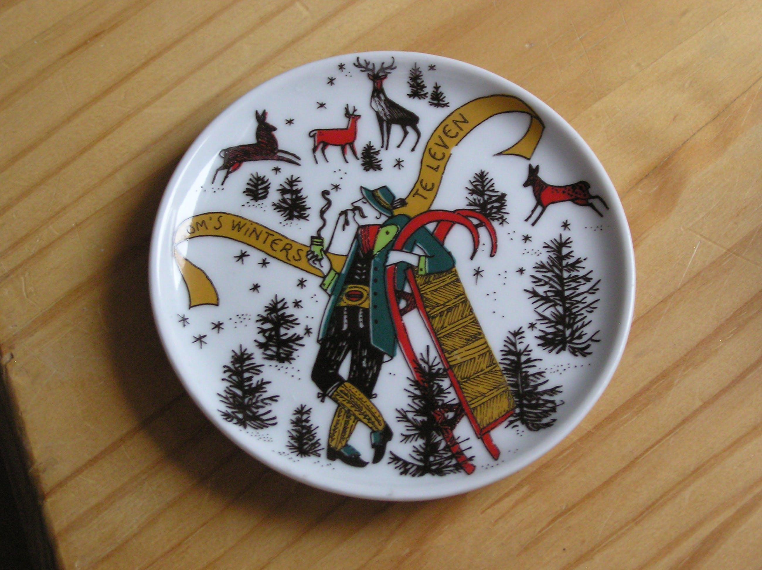 Niet of onleesbaar gesigneerd - Vier vintage porseleinen onderzetters de vier jaargetijden - Susan Doelker kopen? Bied vanaf 1!