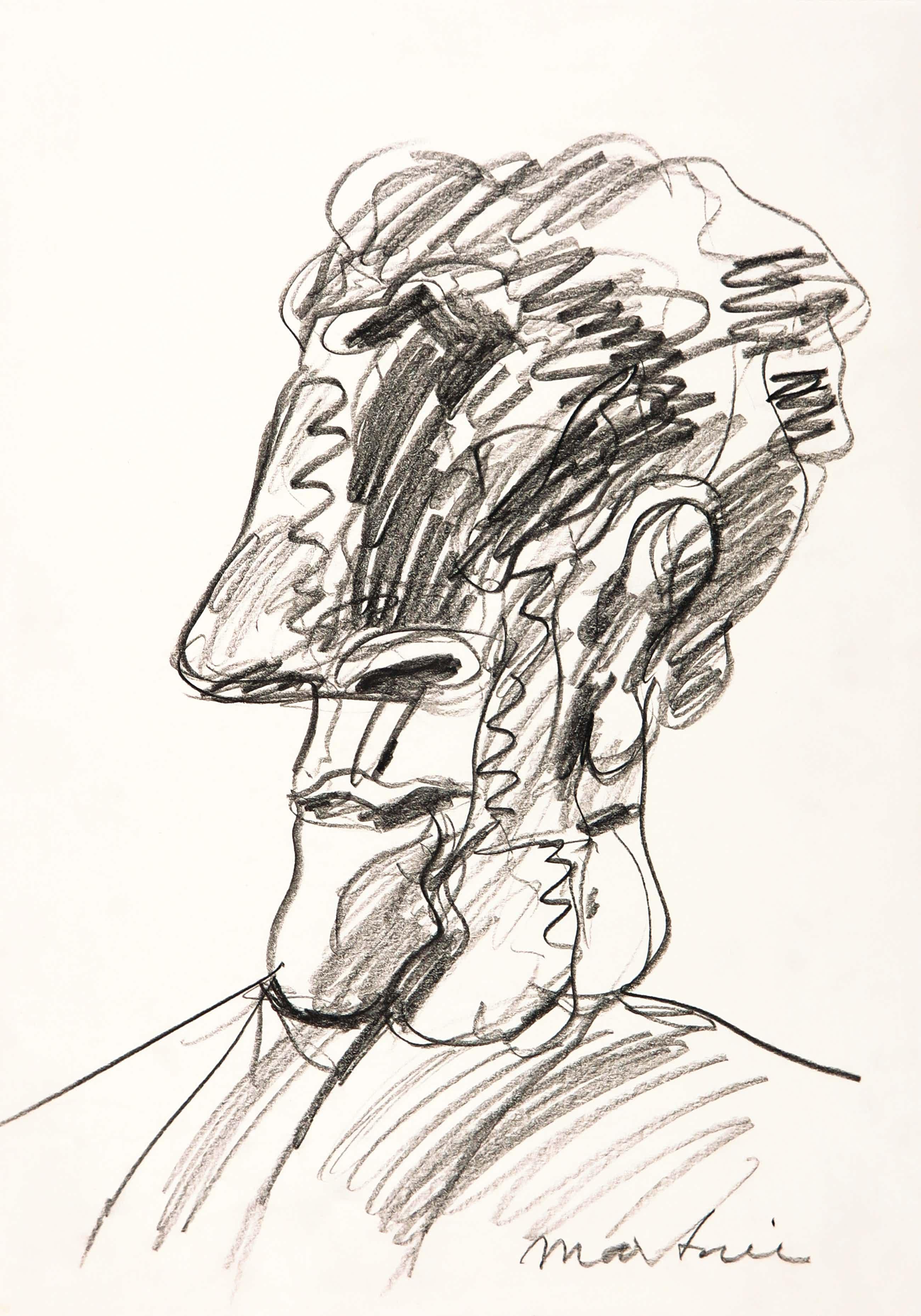 Anton Martineau - Houtskool, Portret van een man kopen? Bied vanaf 70!
