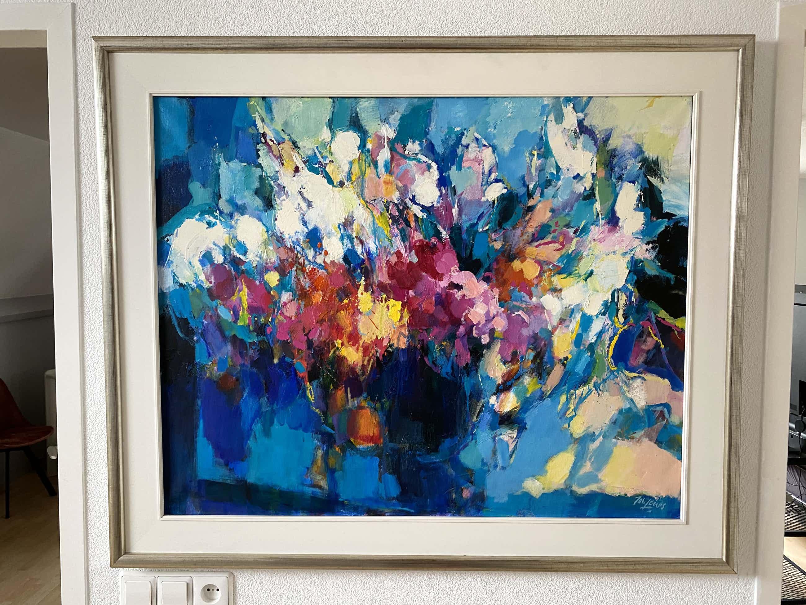 Jos Leurs - Abstract expressionistisch bloemenstilleven kopen? Bied vanaf 800!