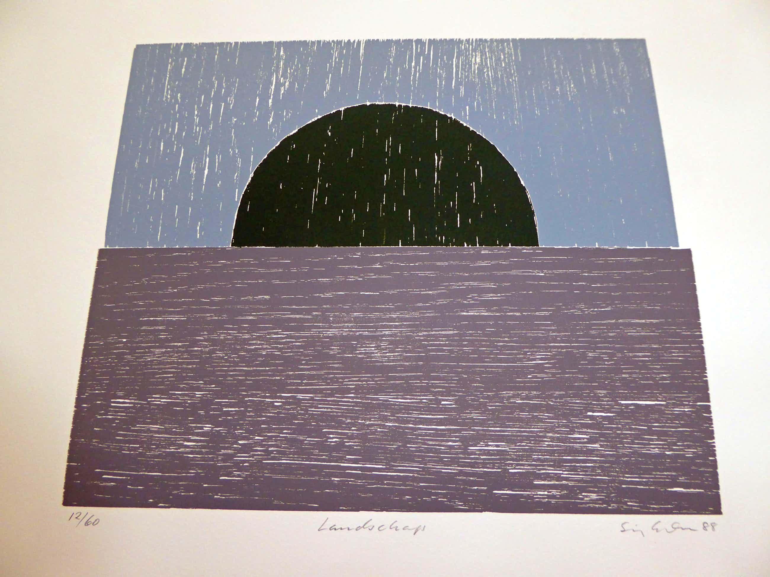 """Sigurdur Gudmundsson - (1942) Drie kleuren houtsnede """"Landschap"""" kopen? Bied vanaf 60!"""