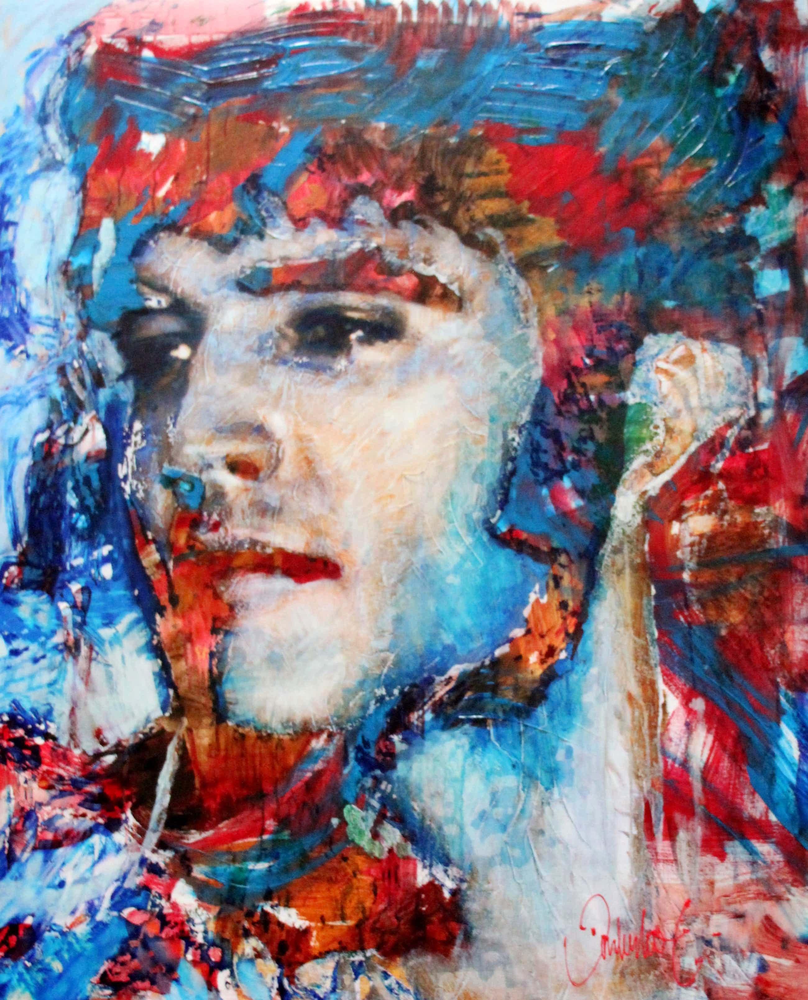 Peter Donkersloot - Peter Donkersloot Acryl en olieverf over print op linnen - Elvis Presley (groot! kopen? Bied vanaf 395!