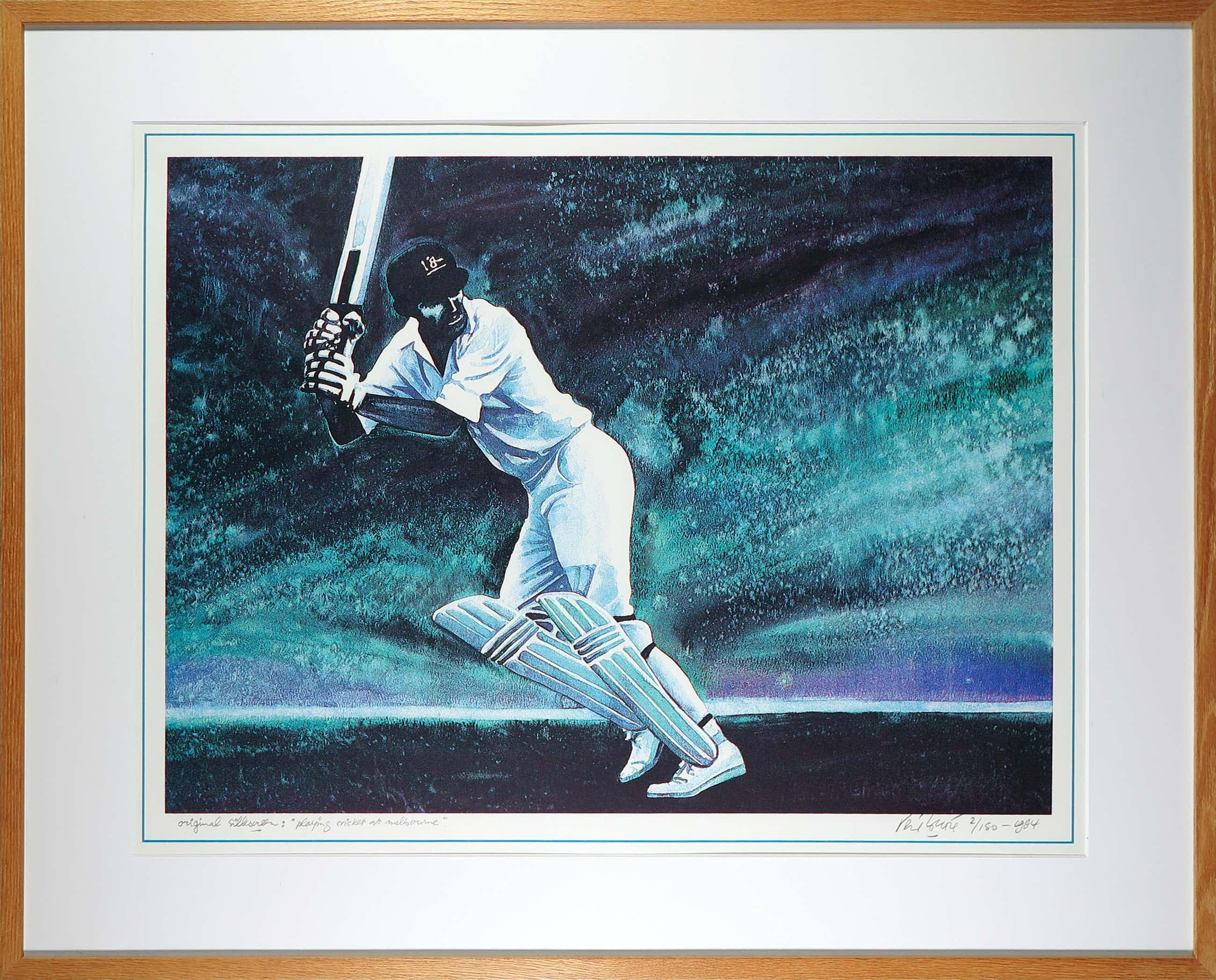 Rene Brone - Zeefdruk, Playing cricket at Melbourne - Ingelijst kopen? Bied vanaf 20!