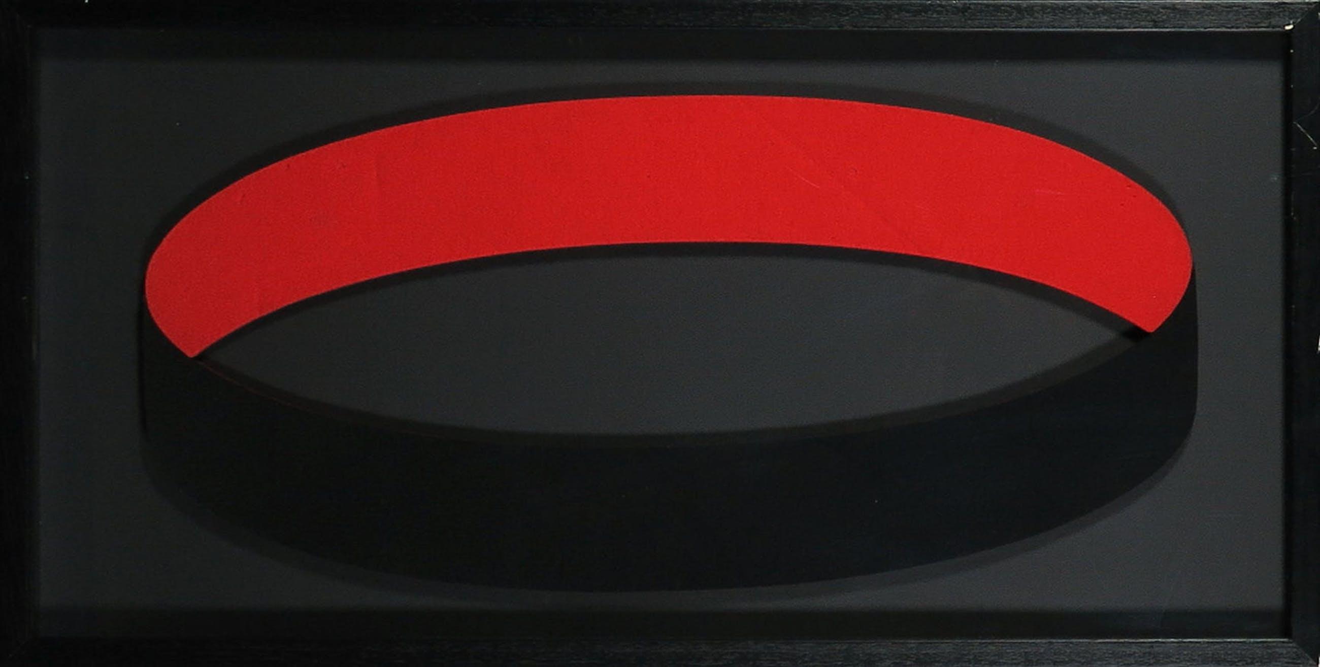 Madeleine Bosscher - Wandobject van vilt, Small circle black red - Ingelijst kopen? Bied vanaf 1!
