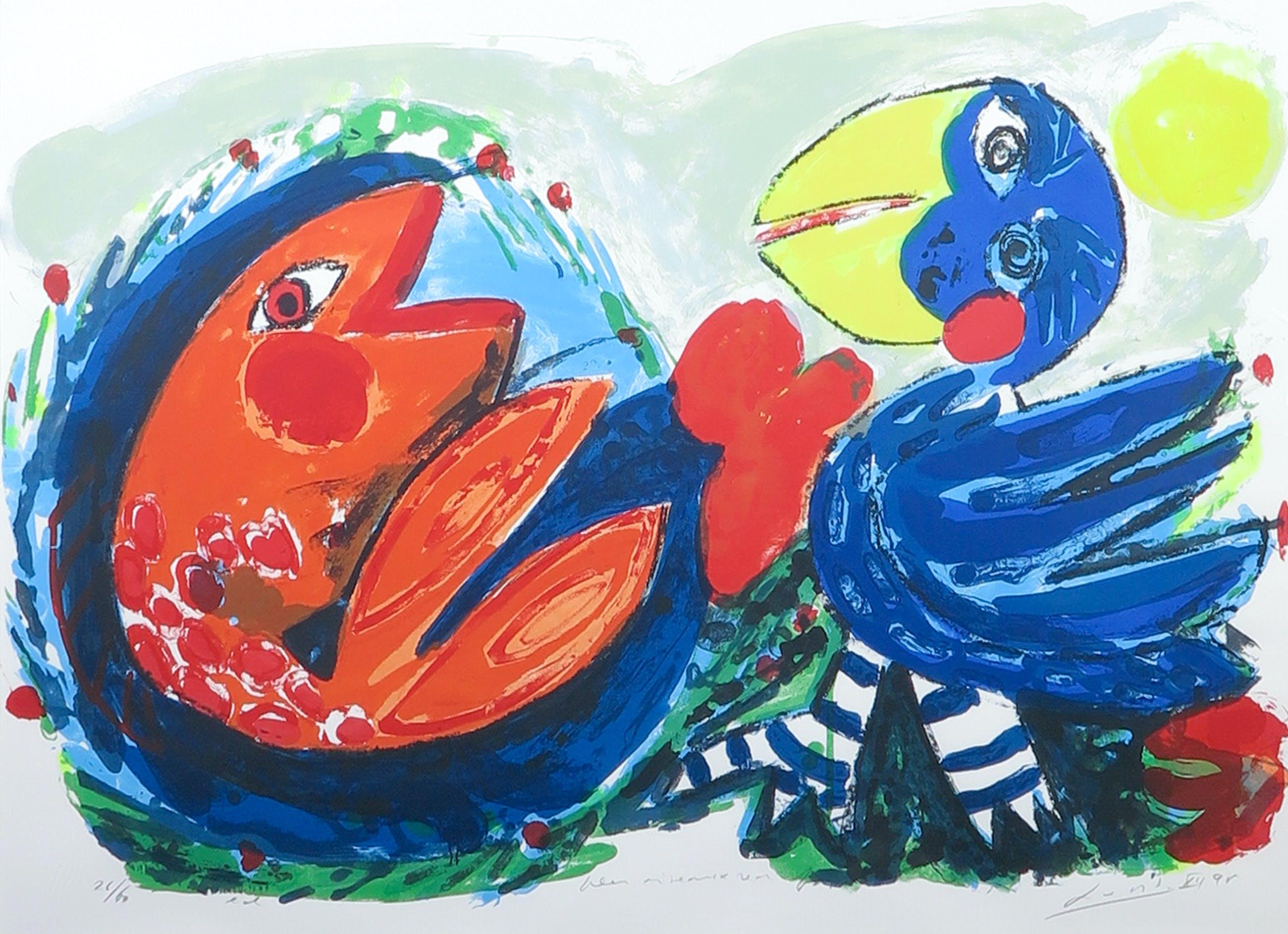 John Lie a Fo - Zeefdruk, Bleu oiseaux red fish - Ingelijst kopen? Bied vanaf 30!