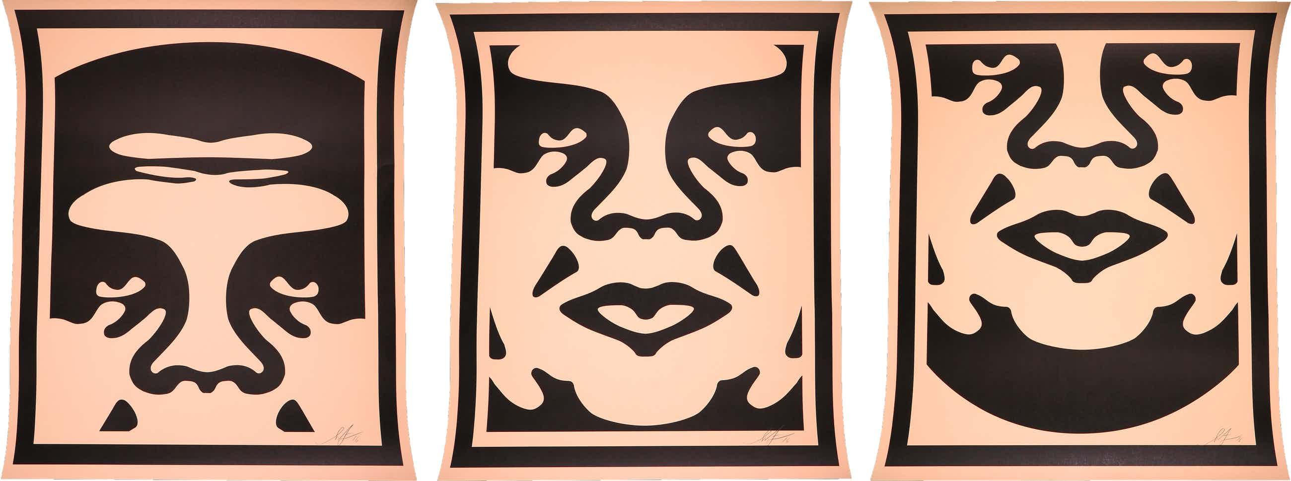 Shepard Fairey - OBEY - Three faces (cream) kopen? Bied vanaf 130!