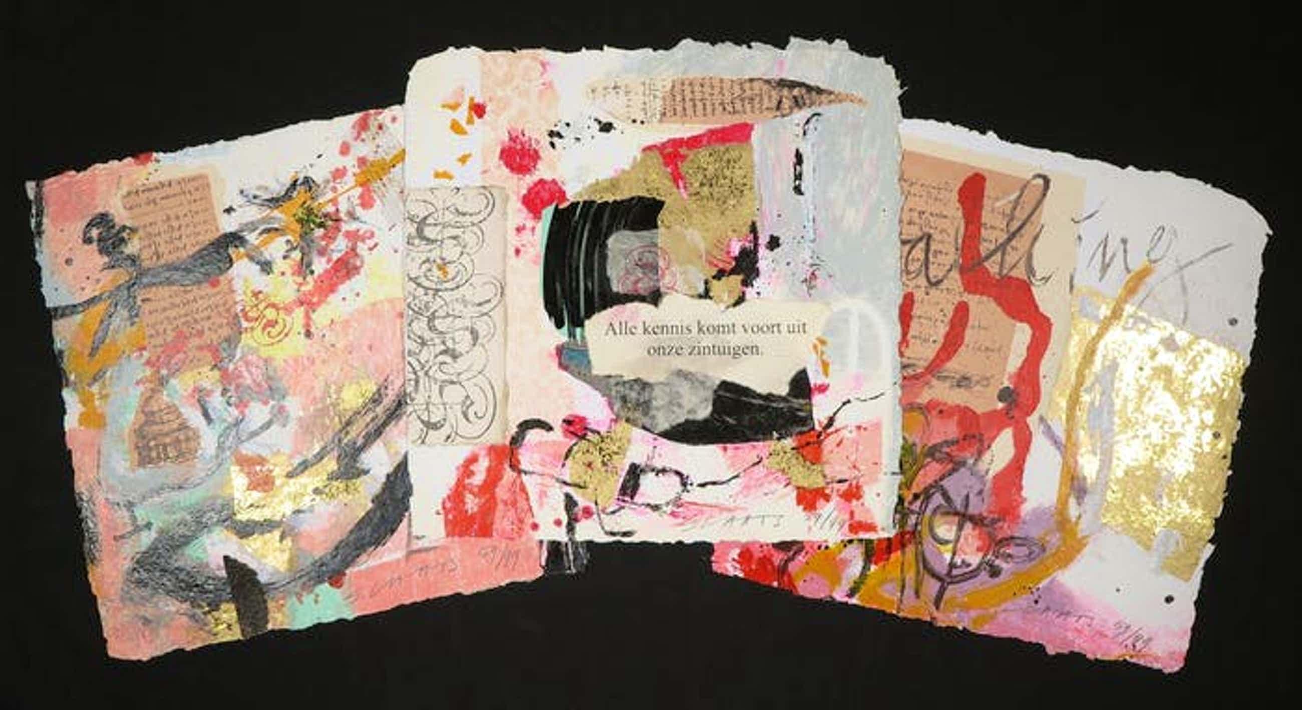Miriam Slaats - Map met drie zeefdrukken, Alle kennis komt voort uit onze zintuigen kopen? Bied vanaf 40!