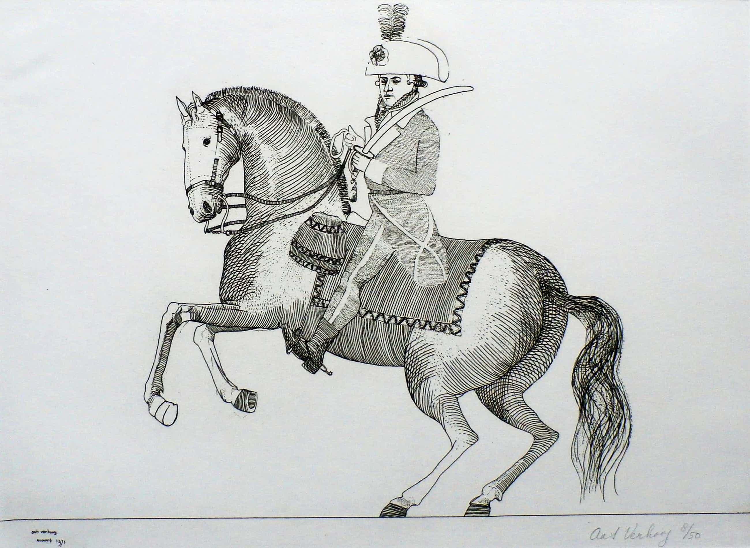 Aat Verhoog - ets: man op paard - 1971 kopen? Bied vanaf 50!
