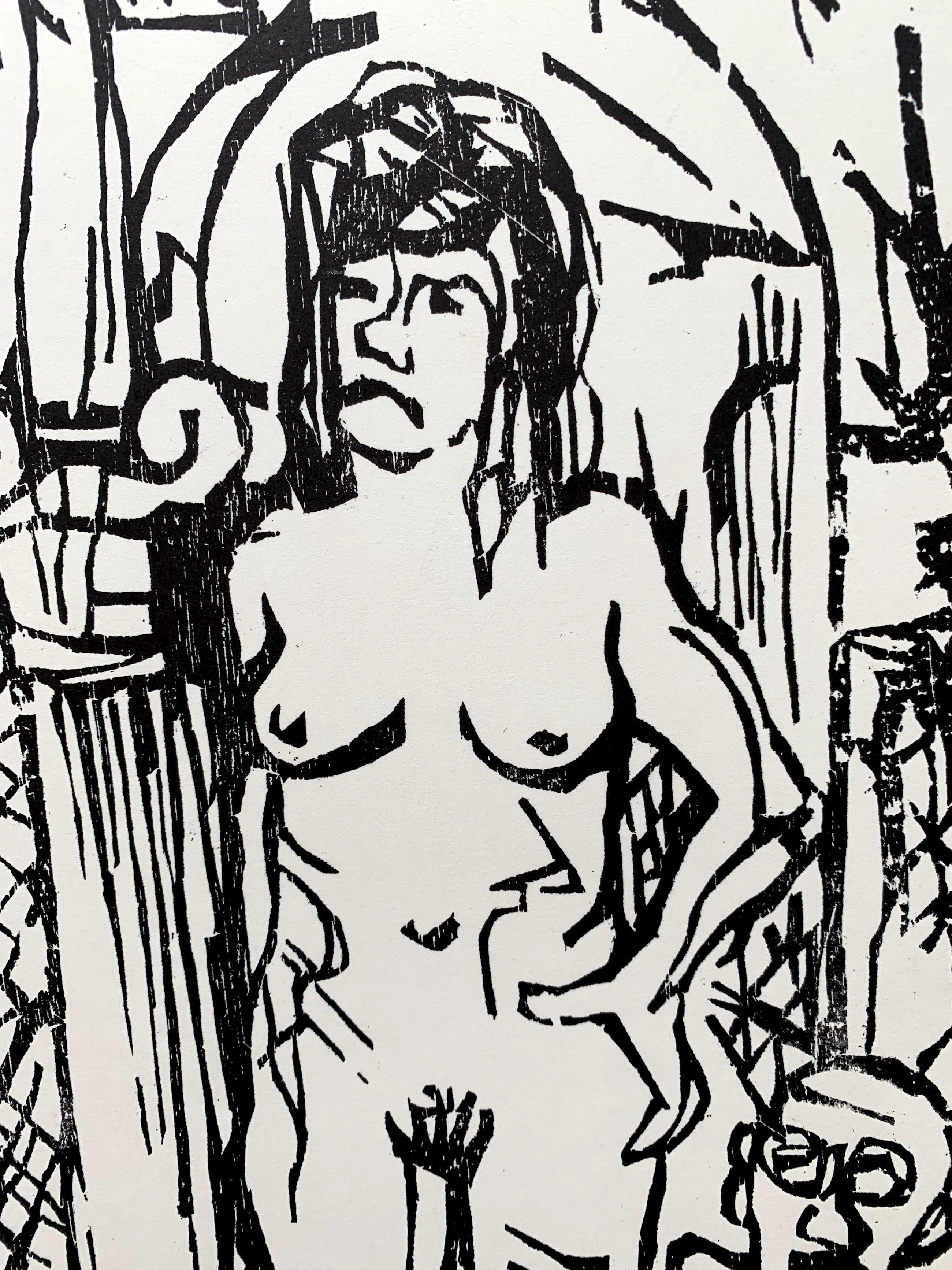 Toon Jansen - houtsnede | 'Zonder titel' | 1970 kopen? Bied vanaf 50!