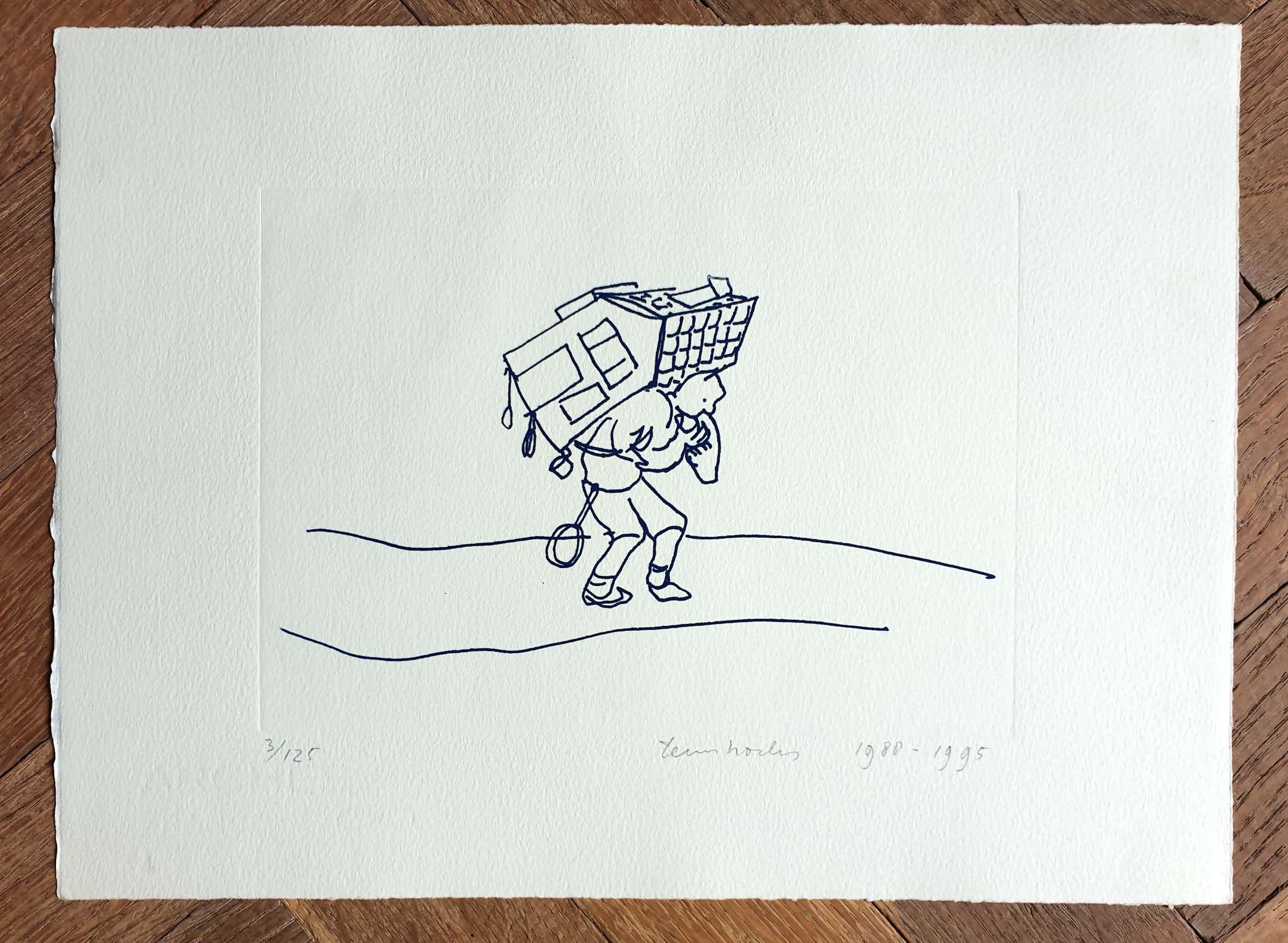 Teun Hocks - Man met huis op zijn rug - ets 1988/1995 - 3/125- 23 x 31 cm kopen? Bied vanaf 125!