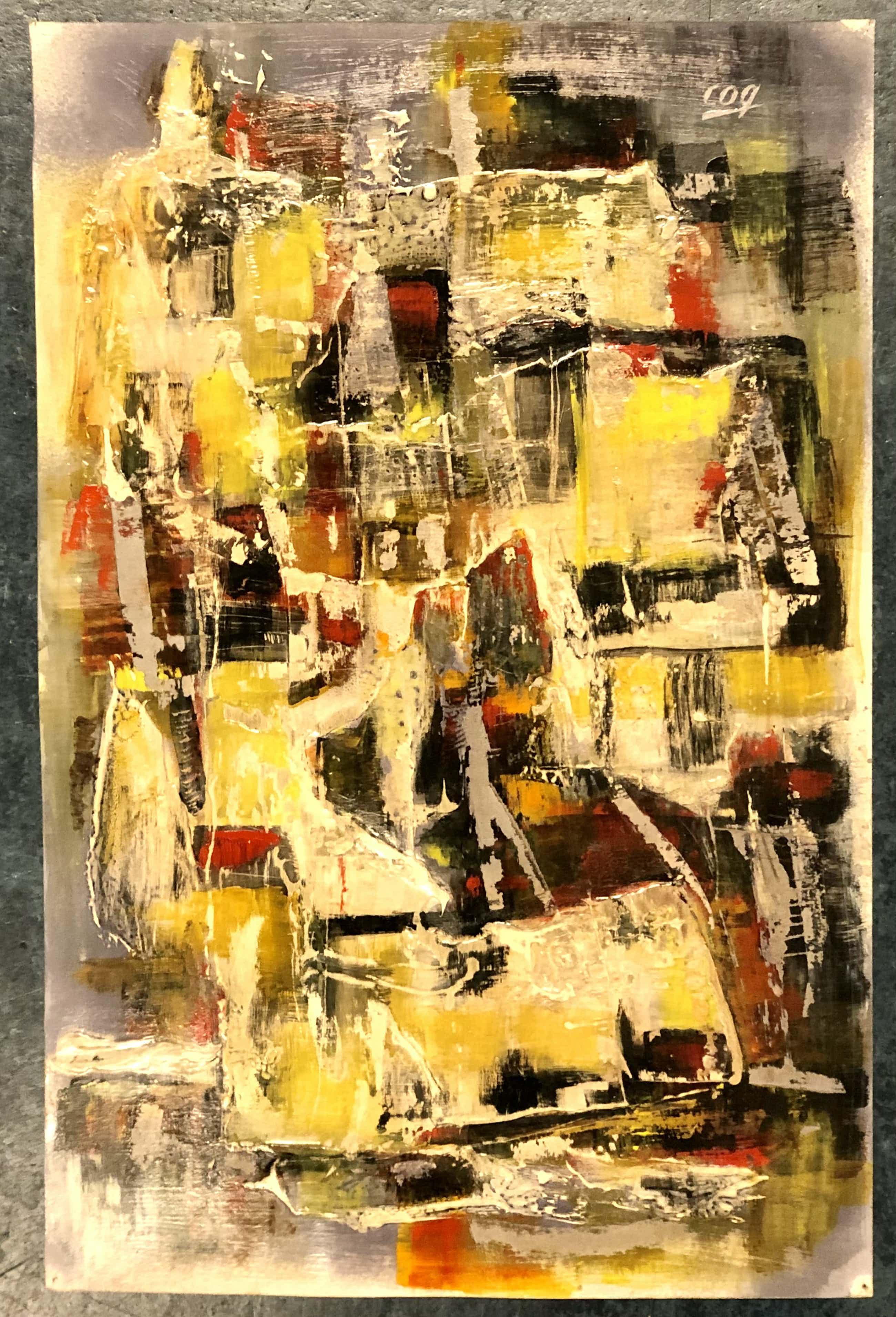 Paul Haanschoten - Abstracte compositie kopen? Bied vanaf 75!