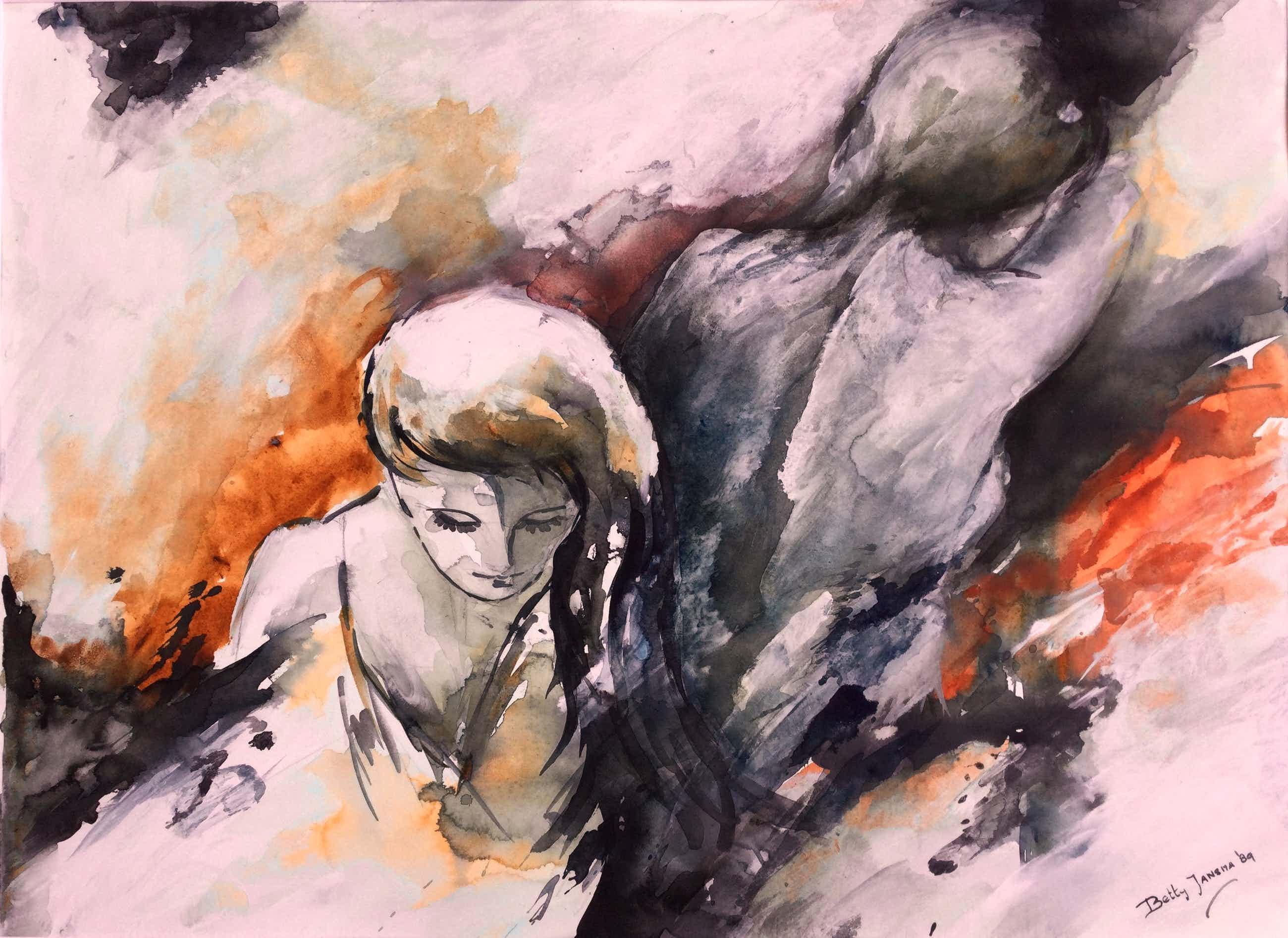 Betty Jansma-Ijzerman - Prachtig schilderij (ingelijst) - Groot! kopen? Bied vanaf 135!