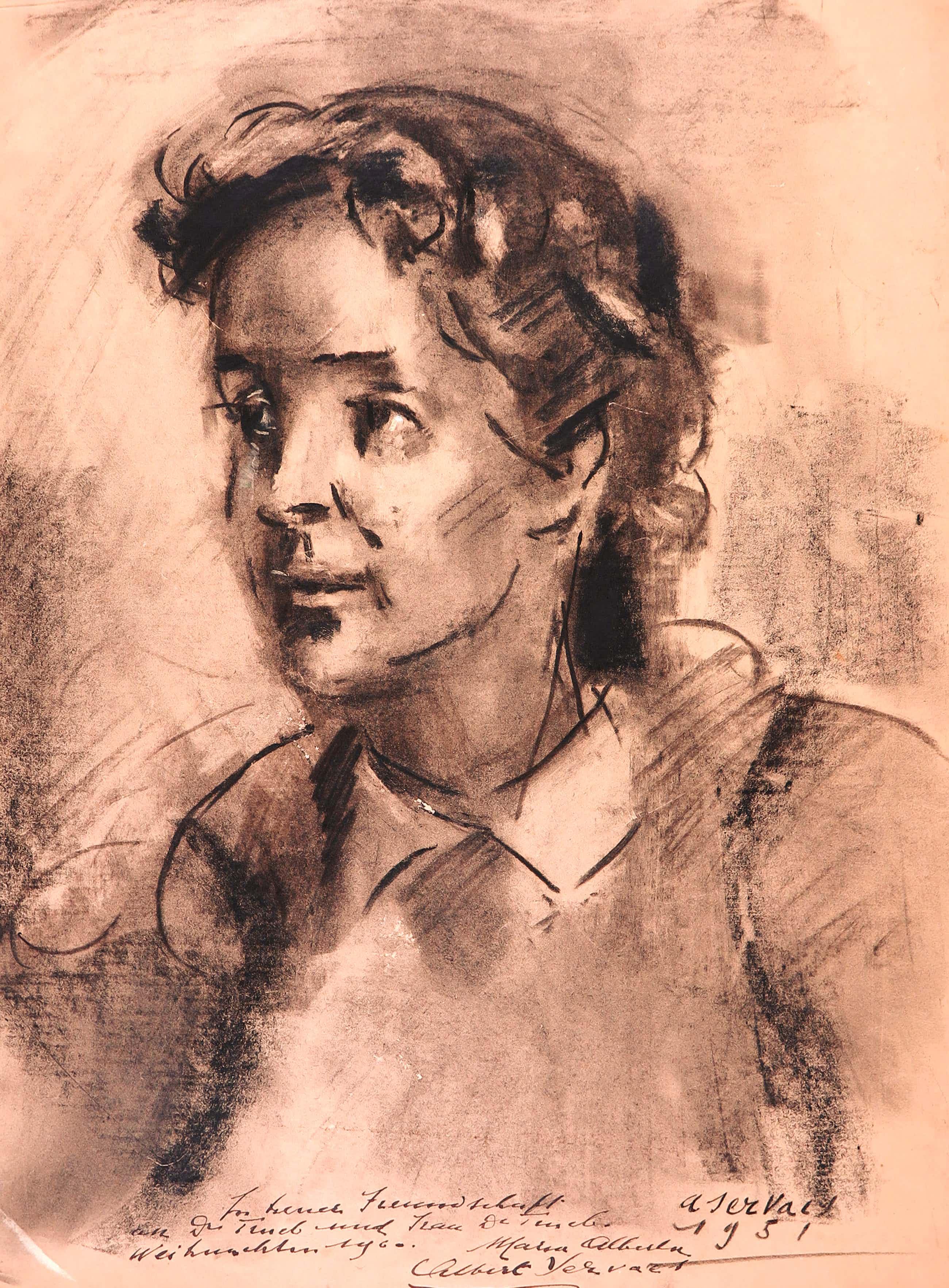 Albert Servaes - Houtskool, Portret van een jonge vrouw kopen? Bied vanaf 150!