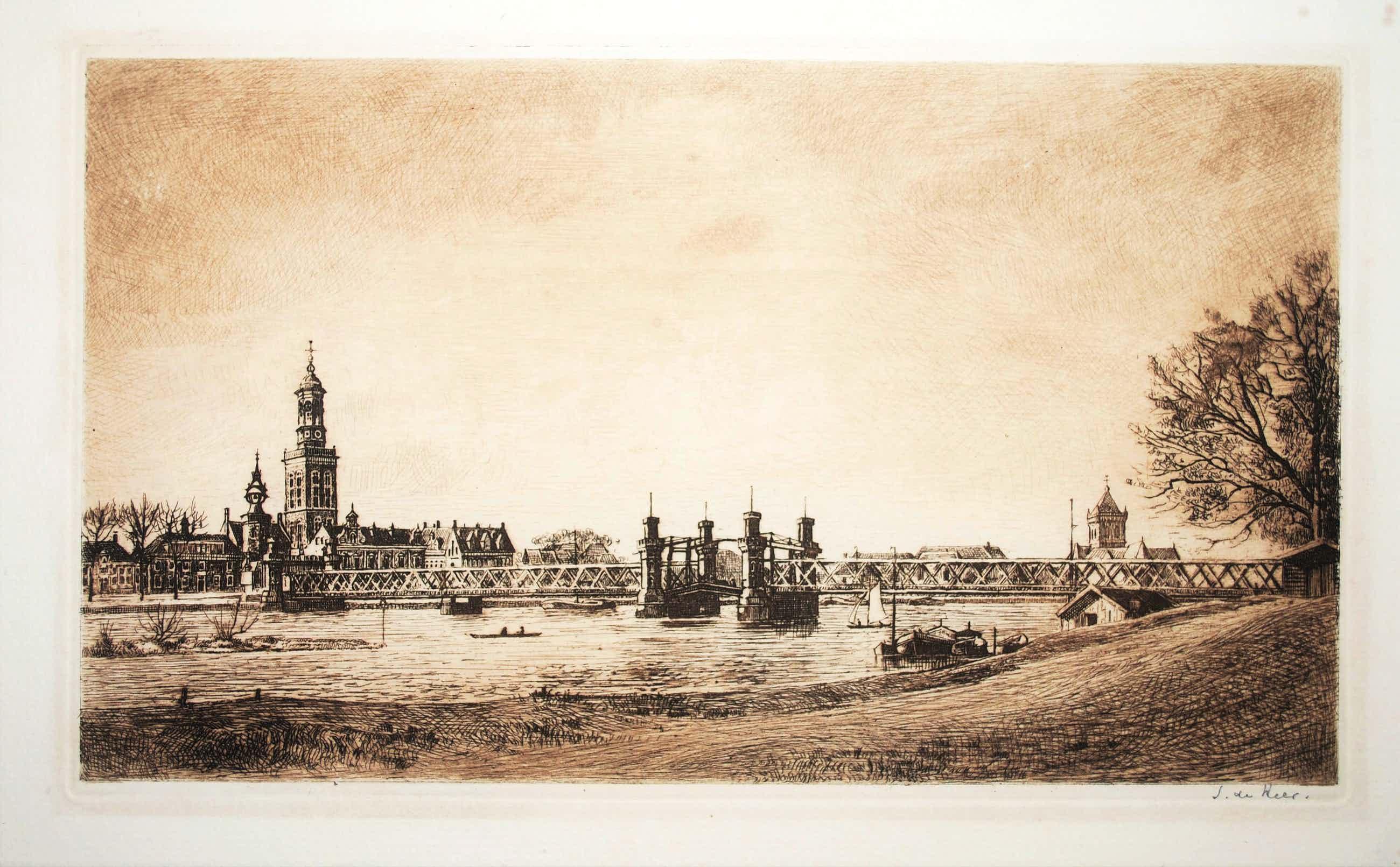Simon de Heer - Kampen, de Stadsbrug over de IJssel - zeldzame ets kopen? Bied vanaf 60!