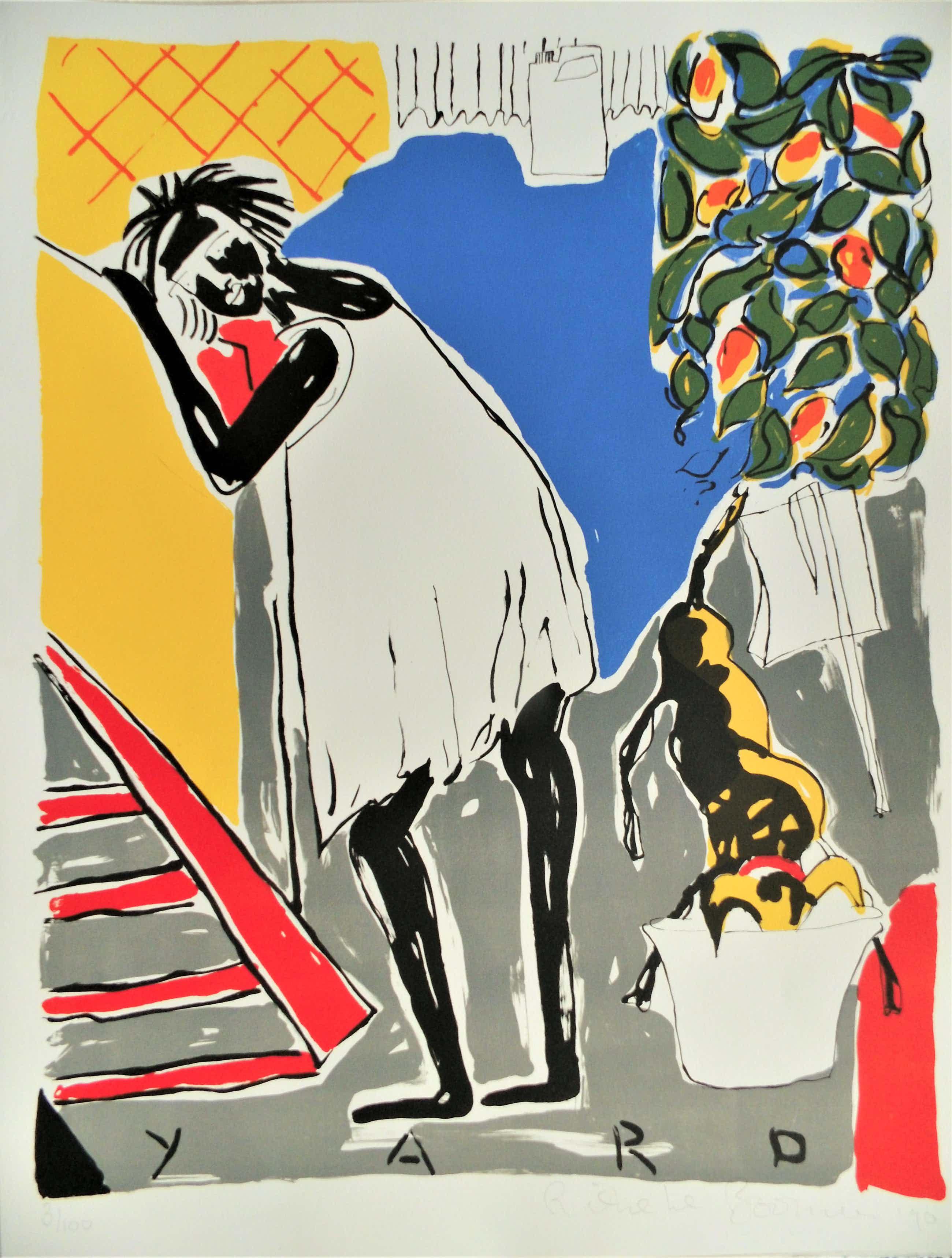 Rieneke Boonman - Yard, een mooie kleurrijke litho kopen? Bied vanaf 70!