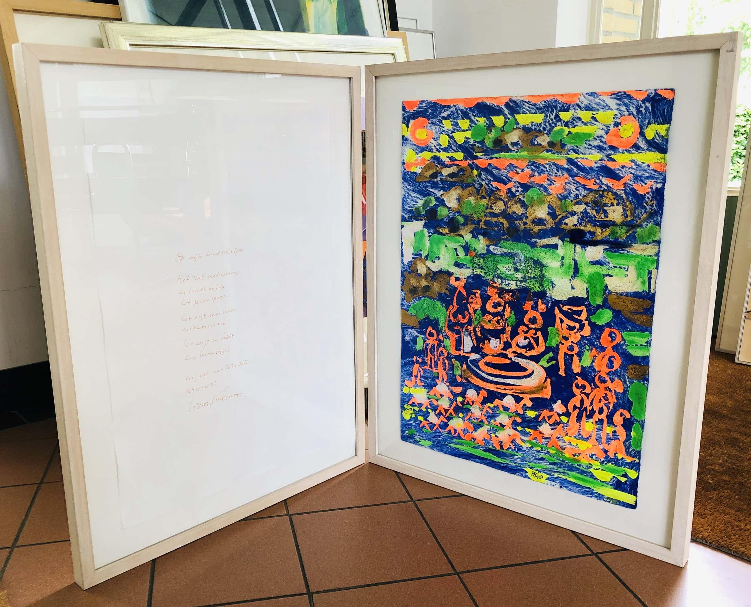 Simon Vinkenoog - Twee-luik met handgeschreven gedicht (Simon) en origineel werk Theo Niermeijer kopen? Bied vanaf 245!
