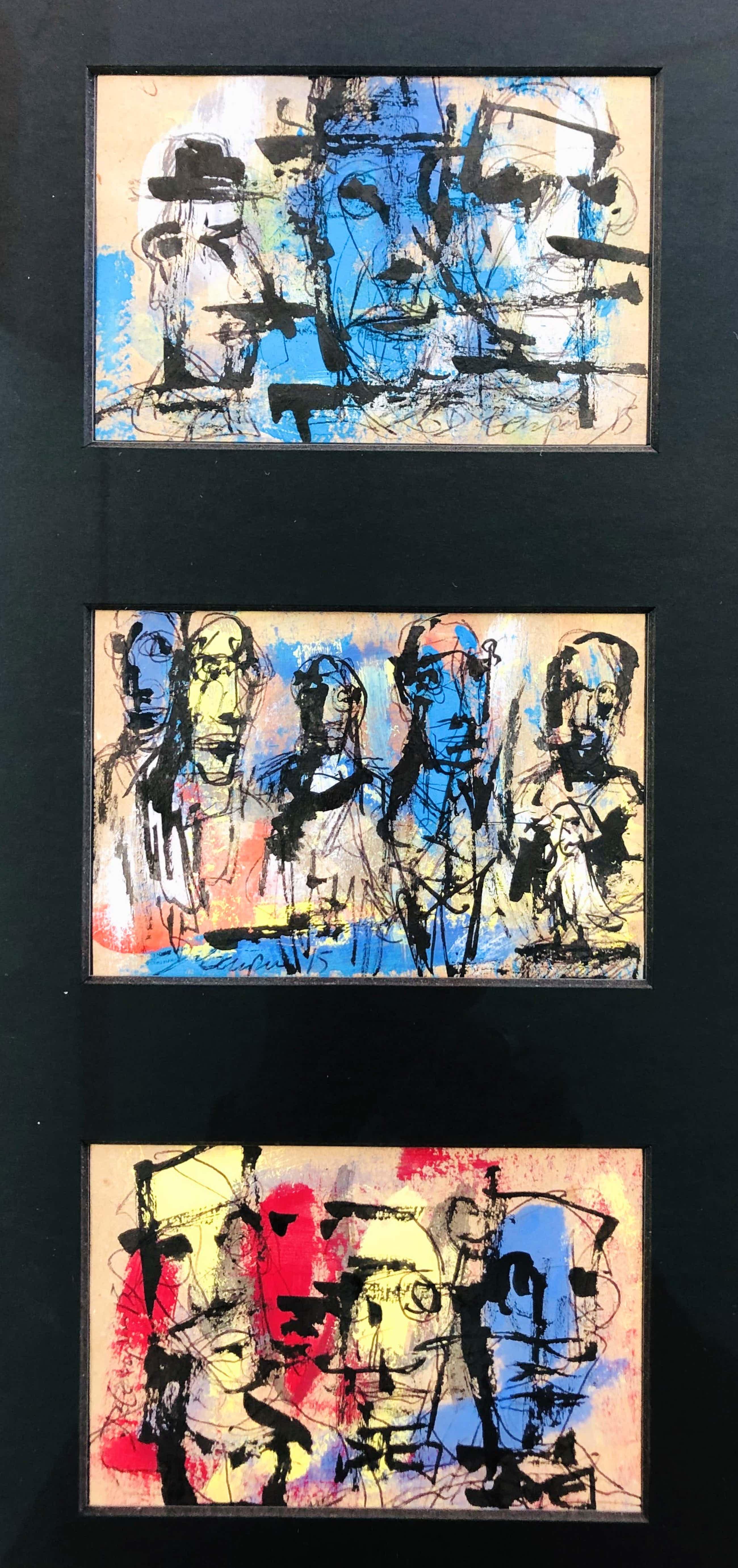 Daniel Caspar - Les blancs et les bleus - drie originele schilderijen kopen? Bied vanaf 175!