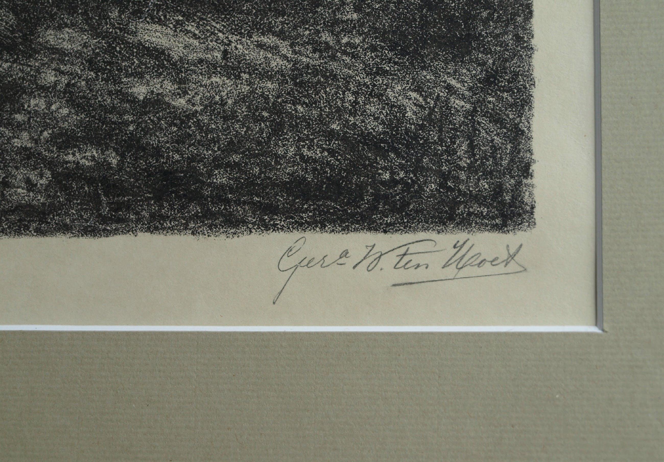 Gerarda Wilhelmina ten Hoet - Litho , 2 Ruiters in het bos – gesigneerd & ingelijst – ca 1910 kopen? Bied vanaf 50!