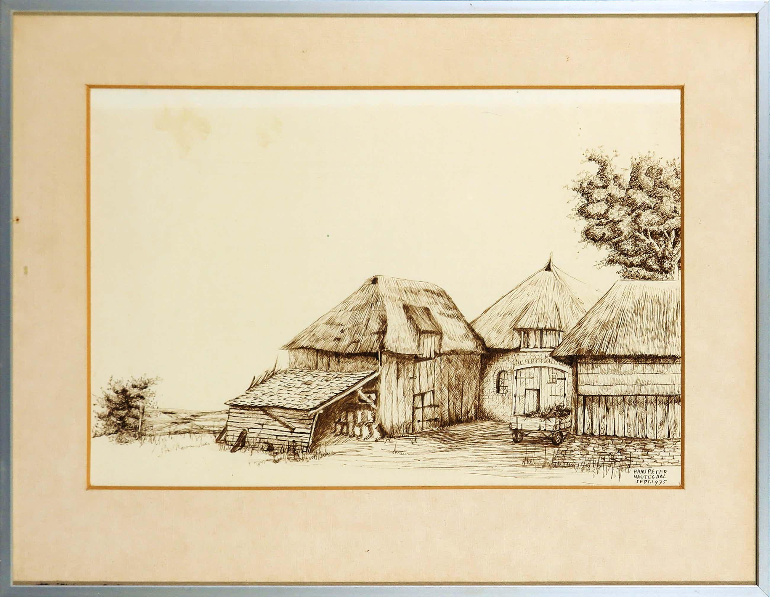Hans Peter Nagtegaal - Sepia pentekening, Boerenerf - Ingelijst kopen? Bied vanaf 180!