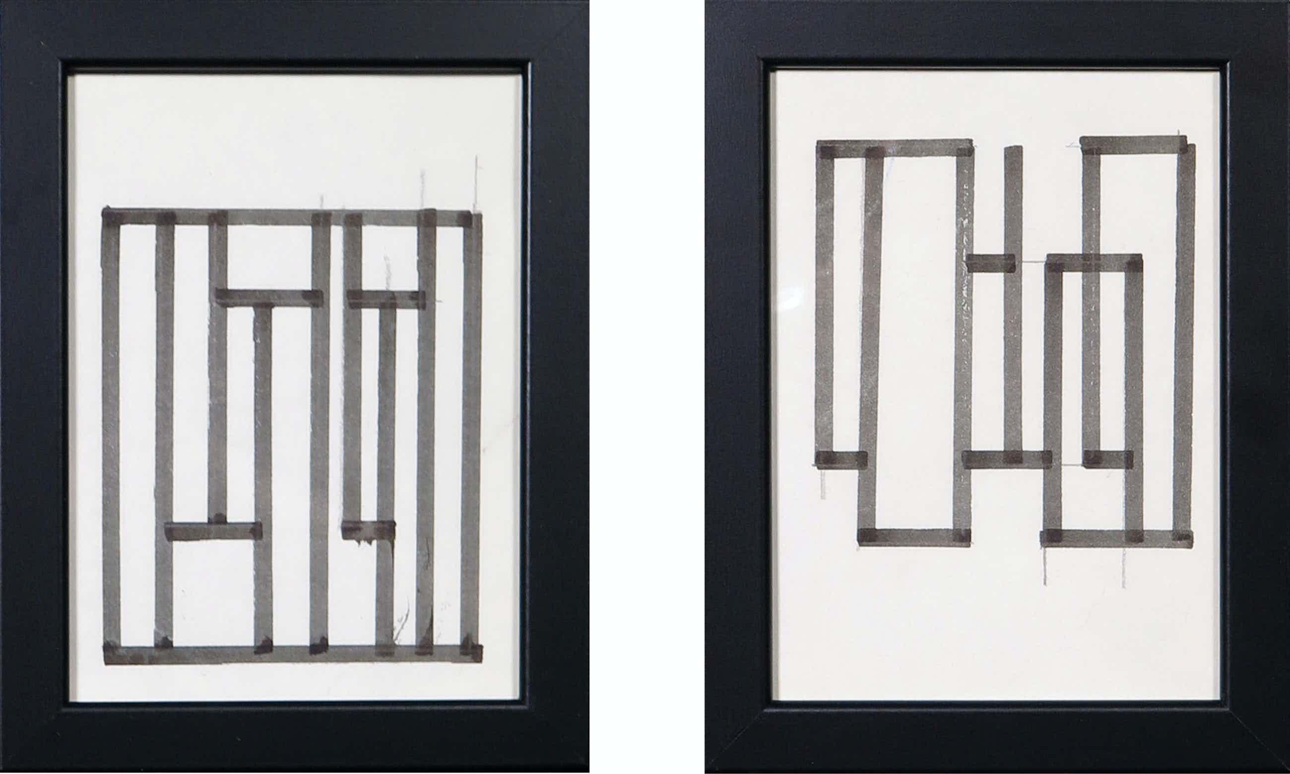 Siep van den Berg - Lot van twee abstracte composities - Ingelijst kopen? Bied vanaf 35!