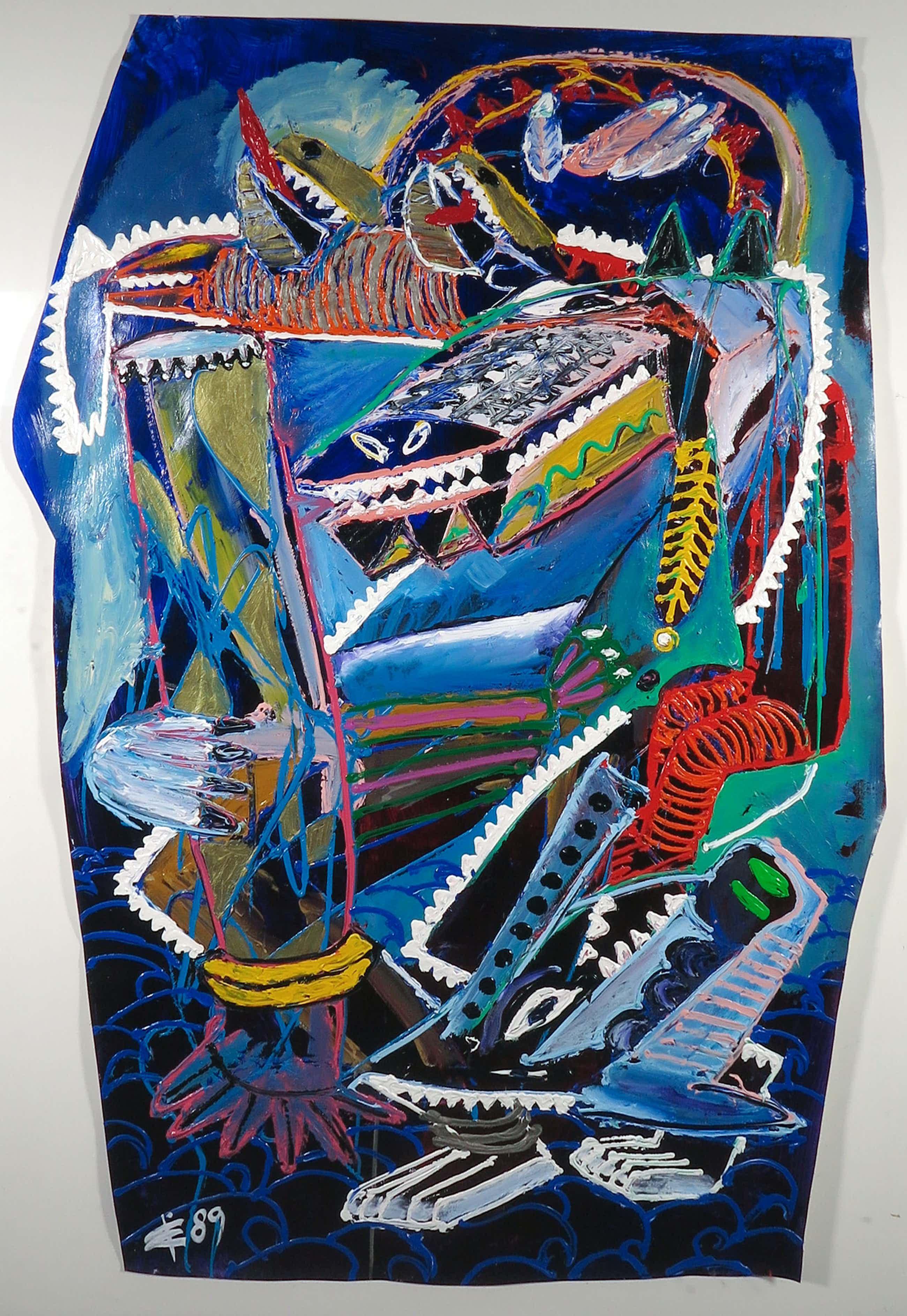 Albert Niemeyer - Acryl op papier, Bezwering van de zee - Ingelijst (Zeer groot) kopen? Bied vanaf 560!