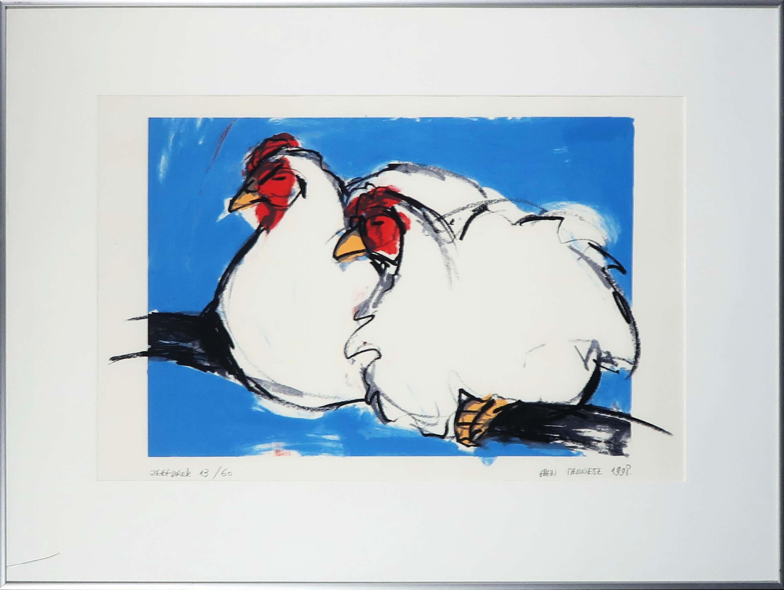 Ellen Meuwese - Zeefdruk, Kippen op stok - Ingelijst kopen? Bied vanaf 35!