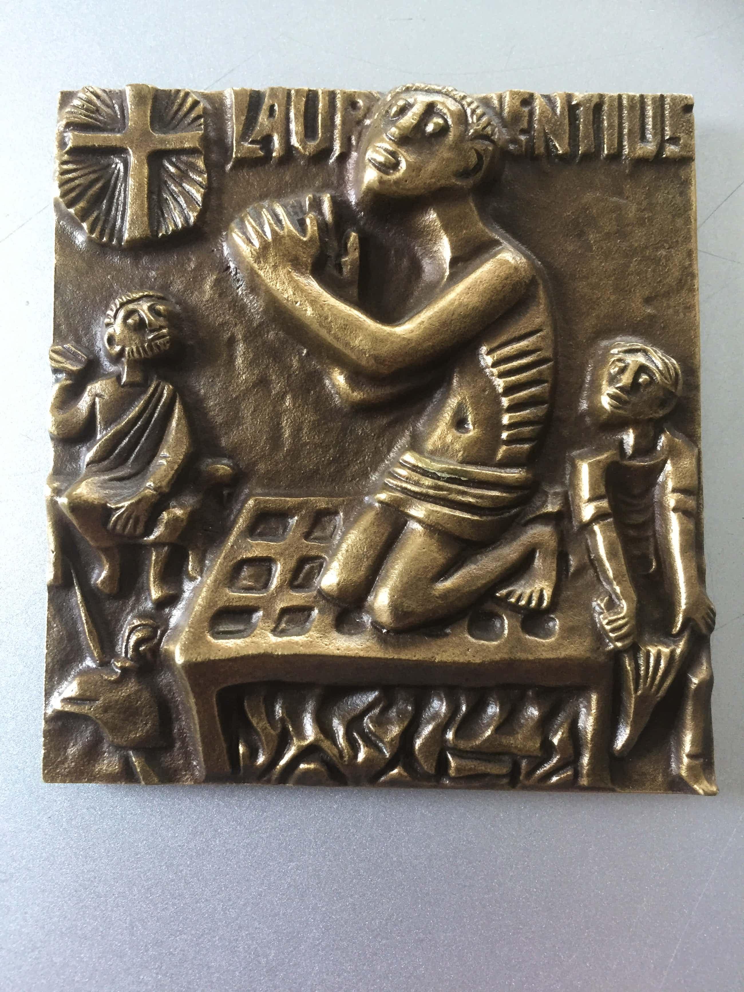 Brons (Onbekend) - PLAQUETTE MET IN RELIËF DE H. LAURENTIUS OP HET ROOSTER kopen? Bied vanaf 59!
