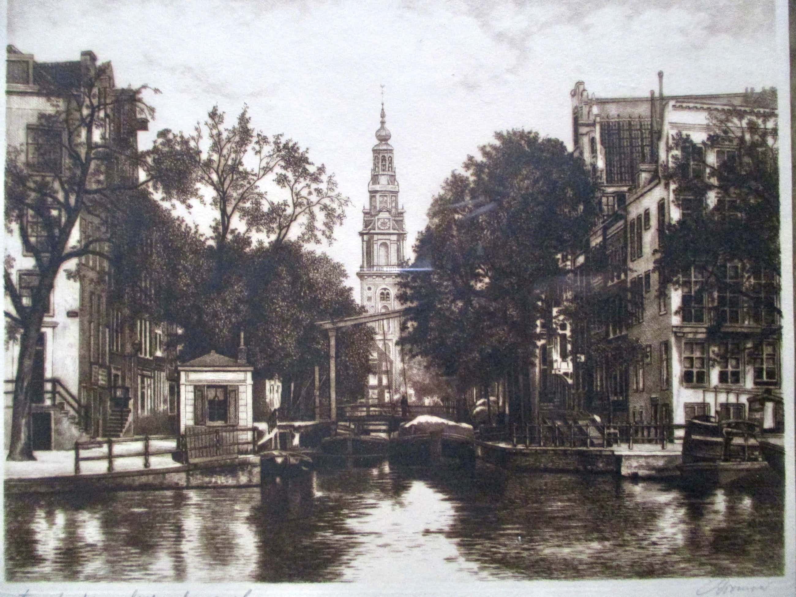 Niet of onleesbaar gesigneerd - Ingelijste ets Groenburgwal Amsterdam, gesigneerd kopen? Bied vanaf 5!
