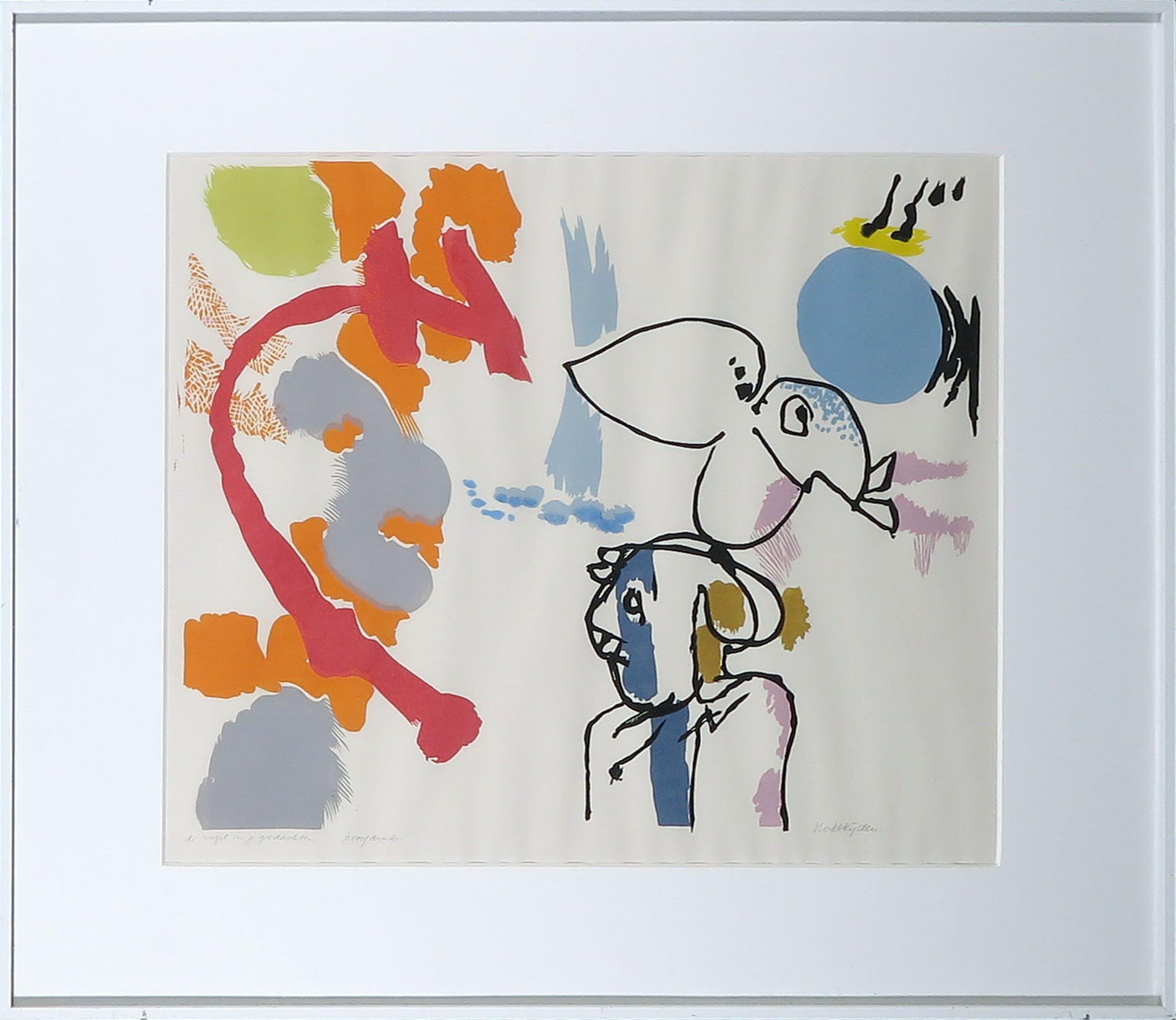 Marianne van der Heijden - Linosnede, De vogel in je gedachten - Ingelijst kopen? Bied vanaf 20!