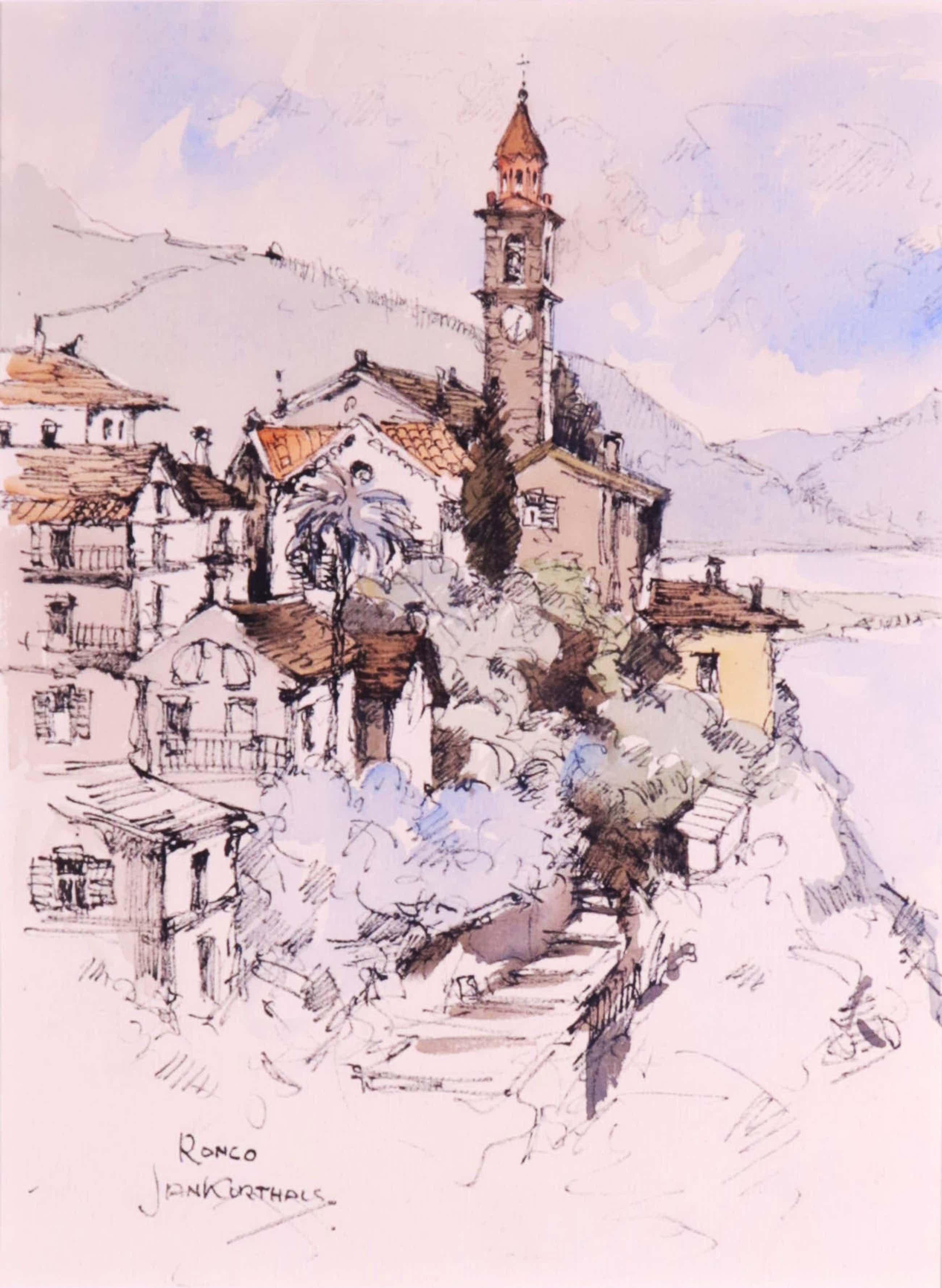 Jan Korthals - Inkttekening en aquarel, Ronco kopen? Bied vanaf 75!