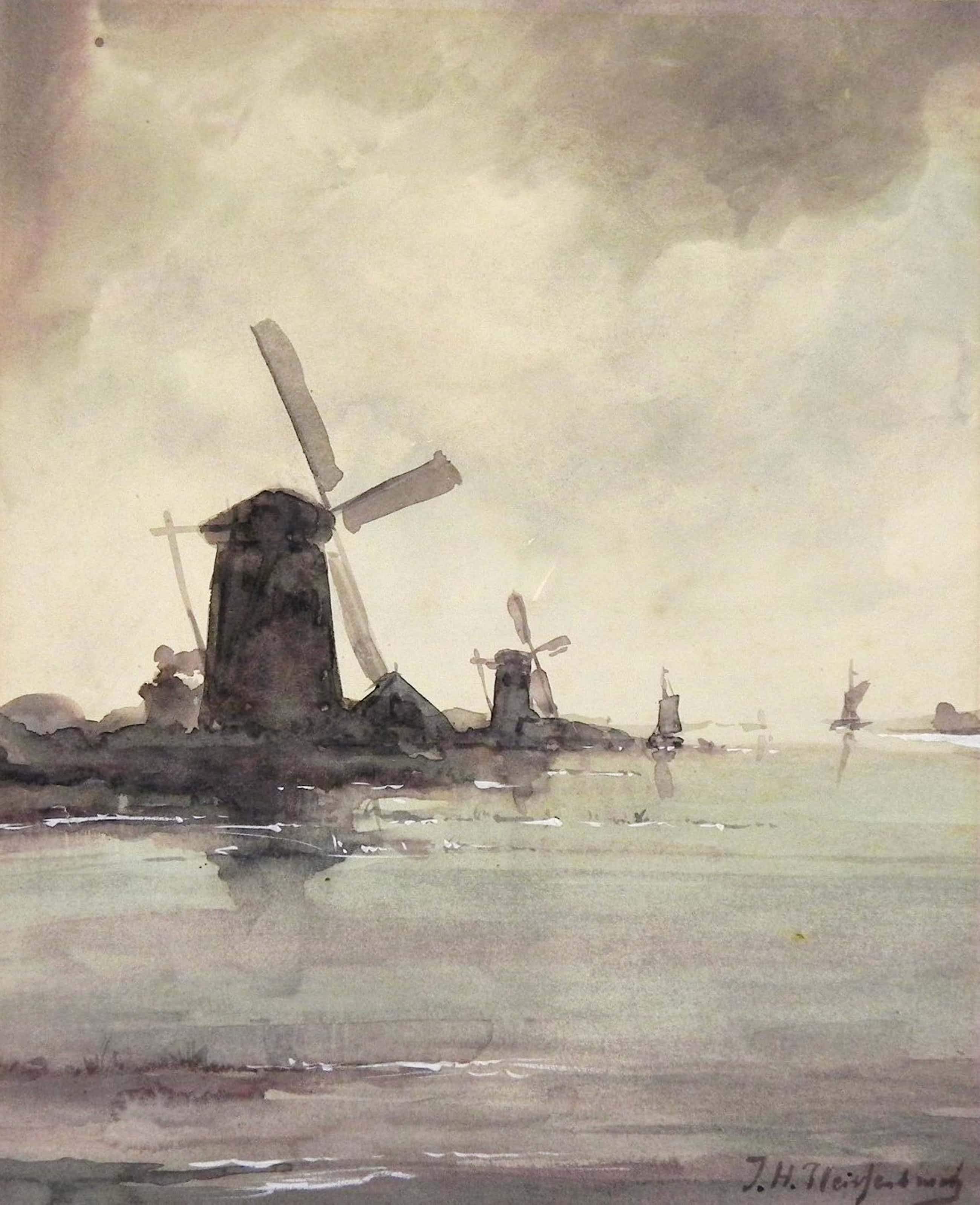 Jan Hendrik Weissenbruch - Landschap met molens en boten. kopen? Bied vanaf 300!