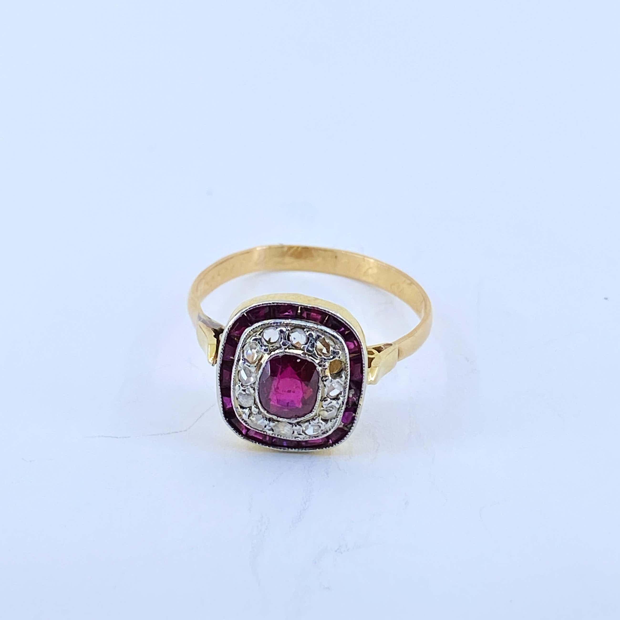 18kt gouden ring met diamant en robijn, maat 57,25/18,50 kopen? Bied vanaf 180!