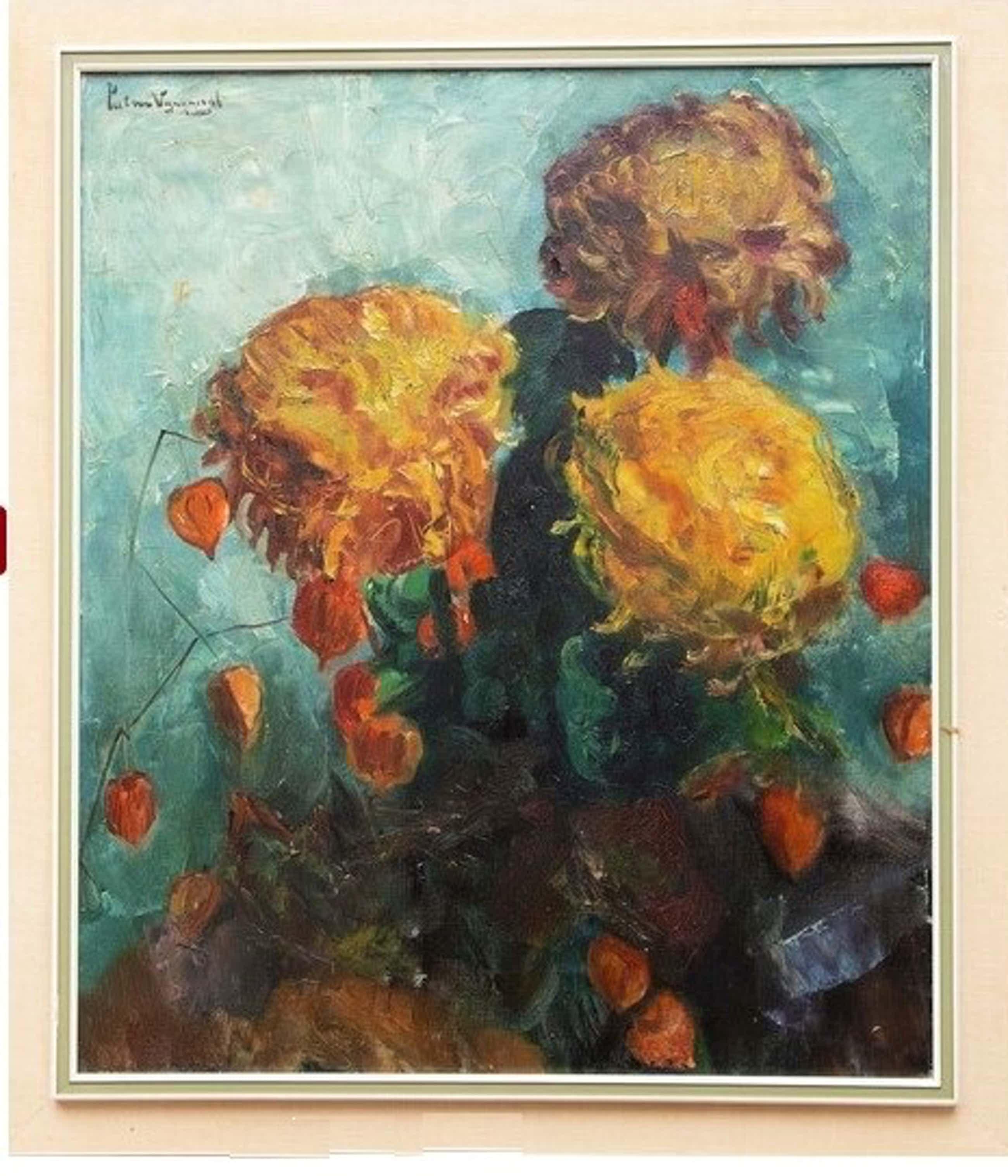 Piet van Wijngaerdt - ** PRIJS VERLAAGD ** Vaas met bloemen - mooi groot kunstwerk kopen? Bied vanaf 575!