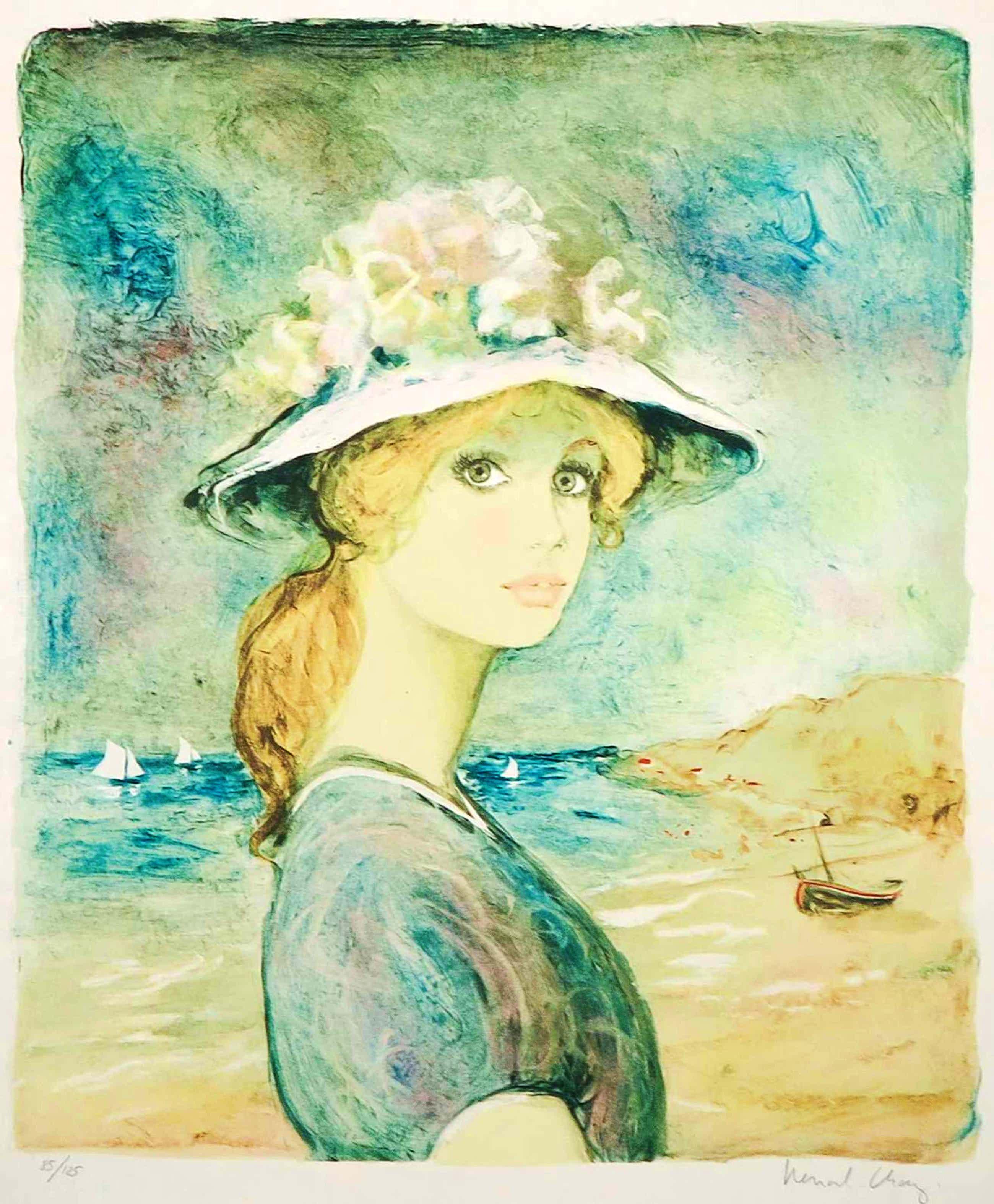 Bernard Charoy - Litho, Meisje op het strand kopen? Bied vanaf 3!