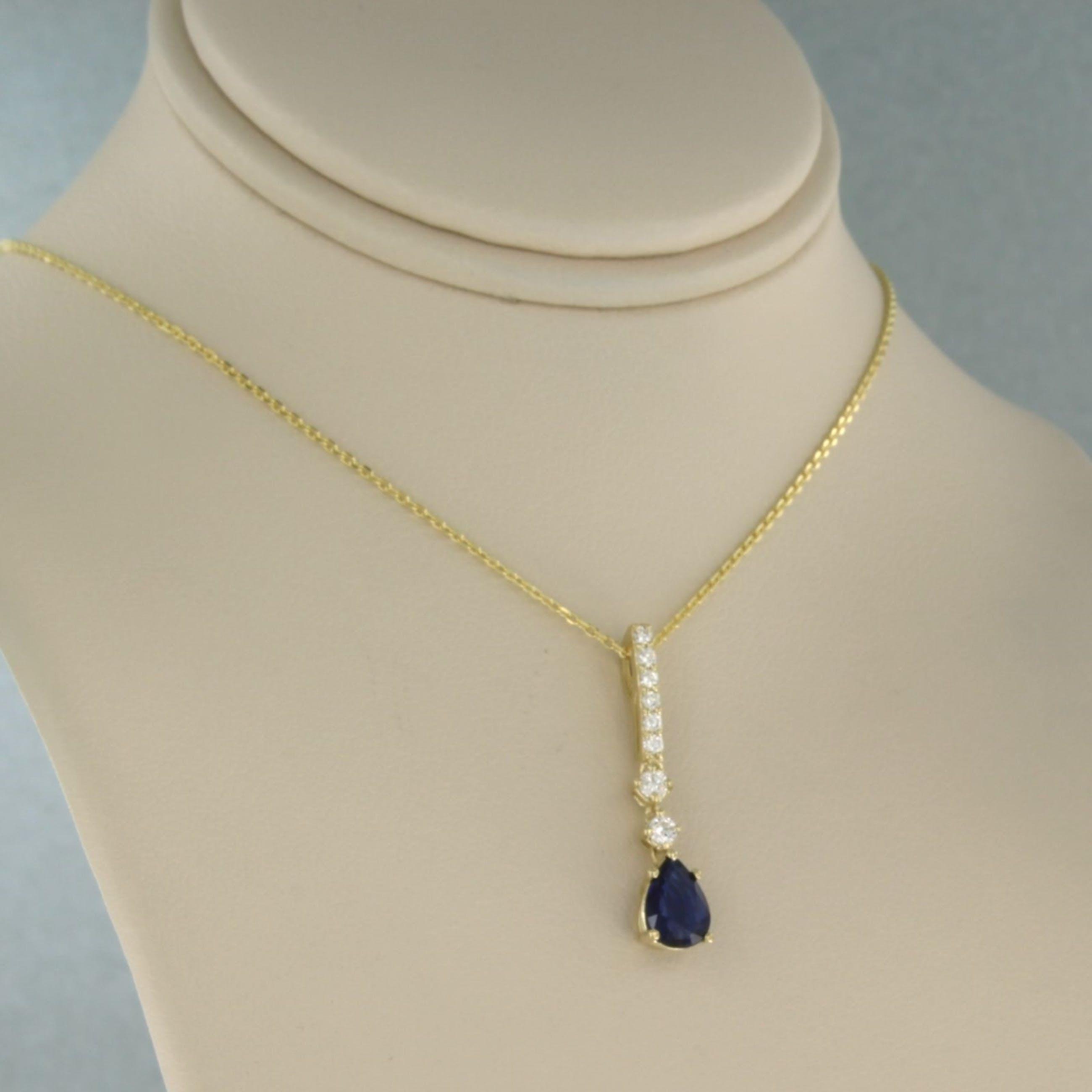 14k geelgouden collier met hanger bezet met saffier en briljant geslepen diamant kopen? Bied vanaf 320!