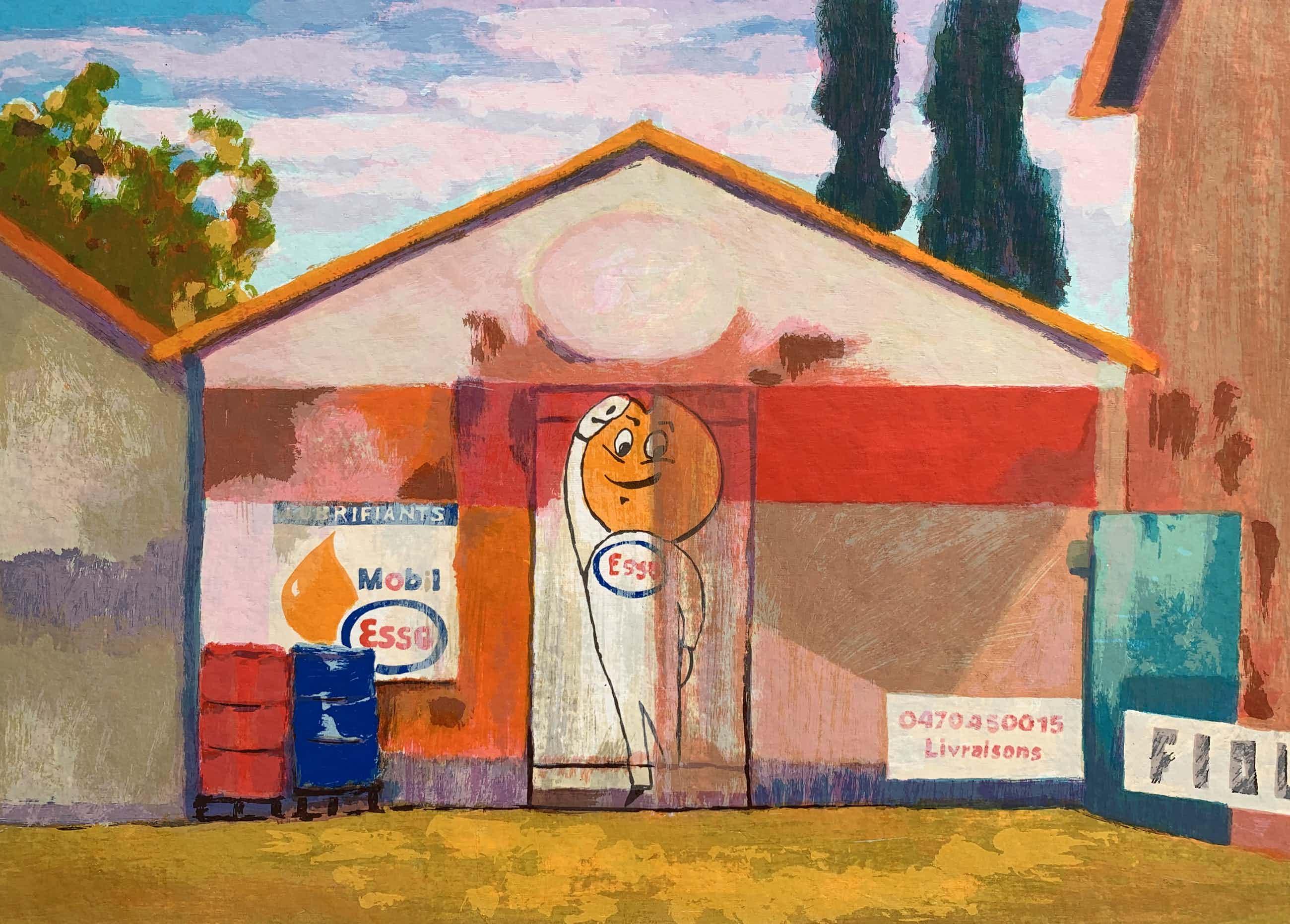 Willem Brauck - kleurenlitho | 'Mobil Esso' | 2006 kopen? Bied vanaf 60!