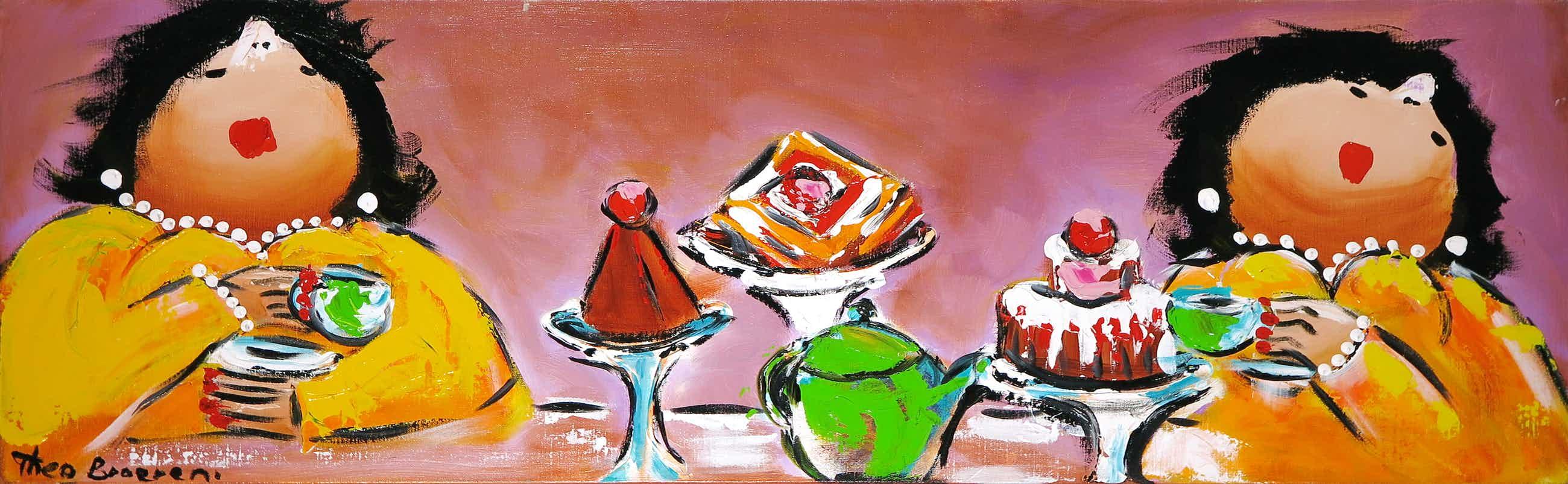 Theo Broeren - Acryl op doek, De taarten (Zeer Groot) kopen? Bied vanaf 100!
