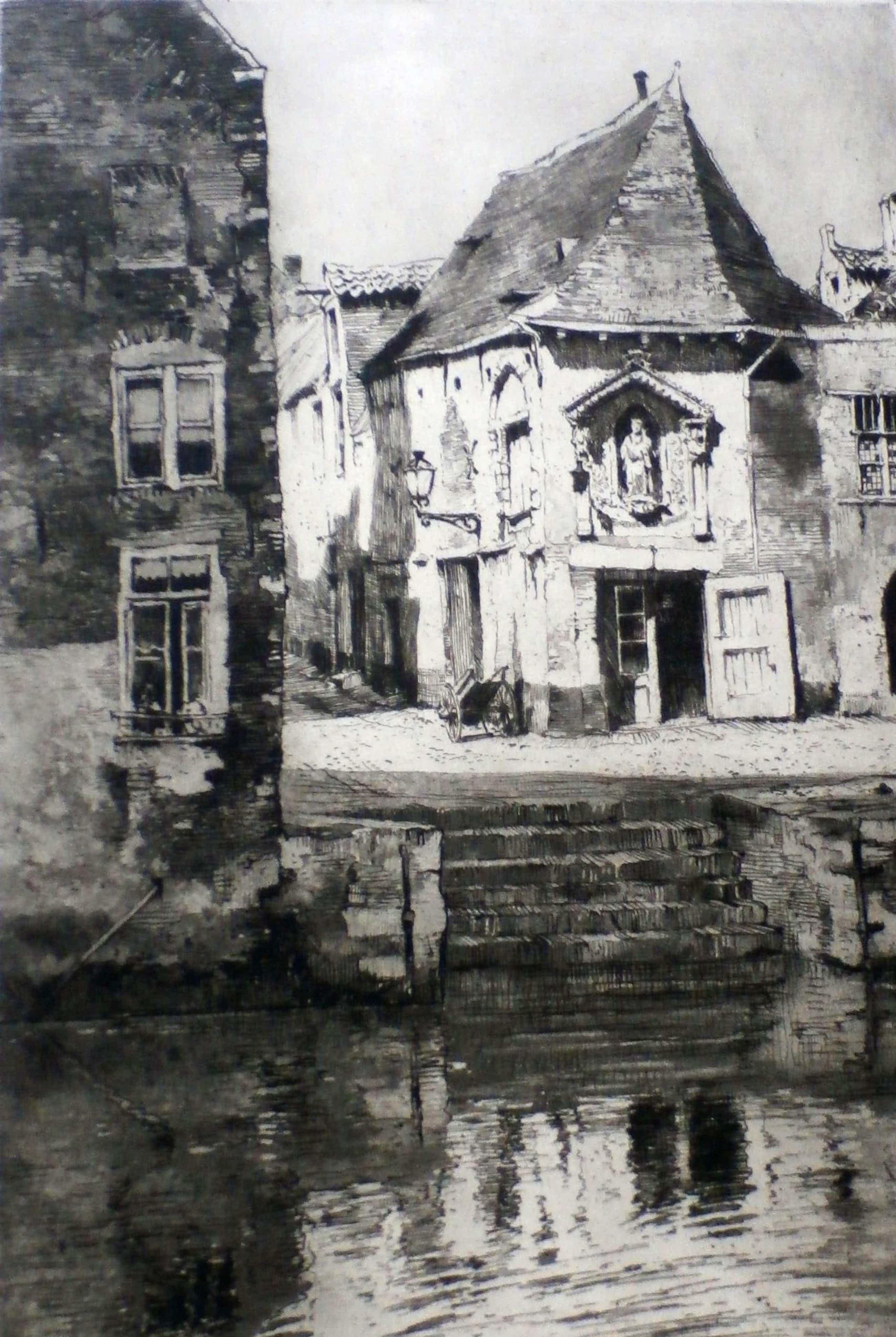 Hendrikus Roodenburg - ets: het oude hoekje (Mechelen, België) - 1928 kopen? Bied vanaf 45!