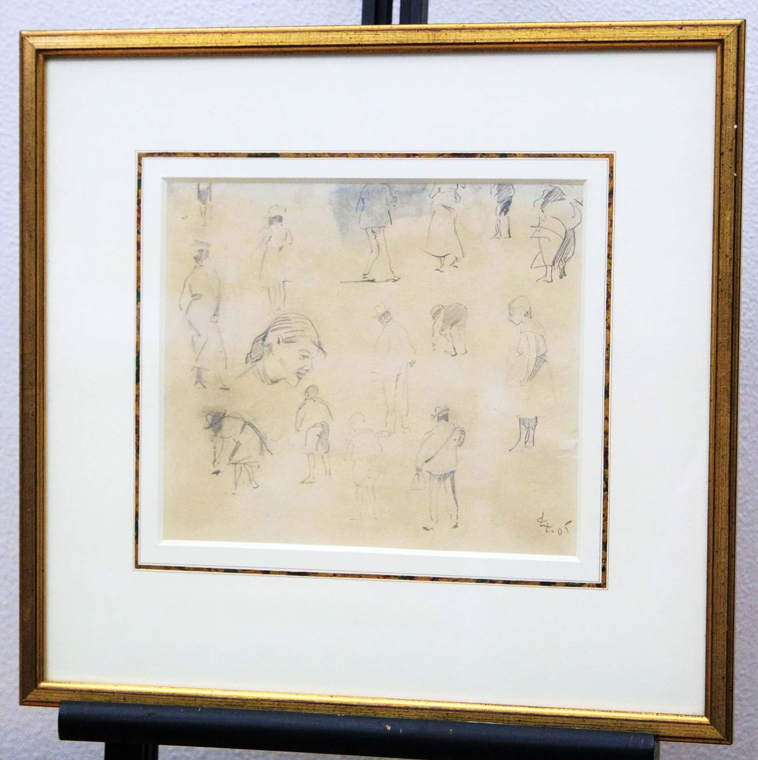 """Leo Gestel - Potlood op papier - """"studietekening met figuren"""" - Bergense School kopen? Bied vanaf 325!"""