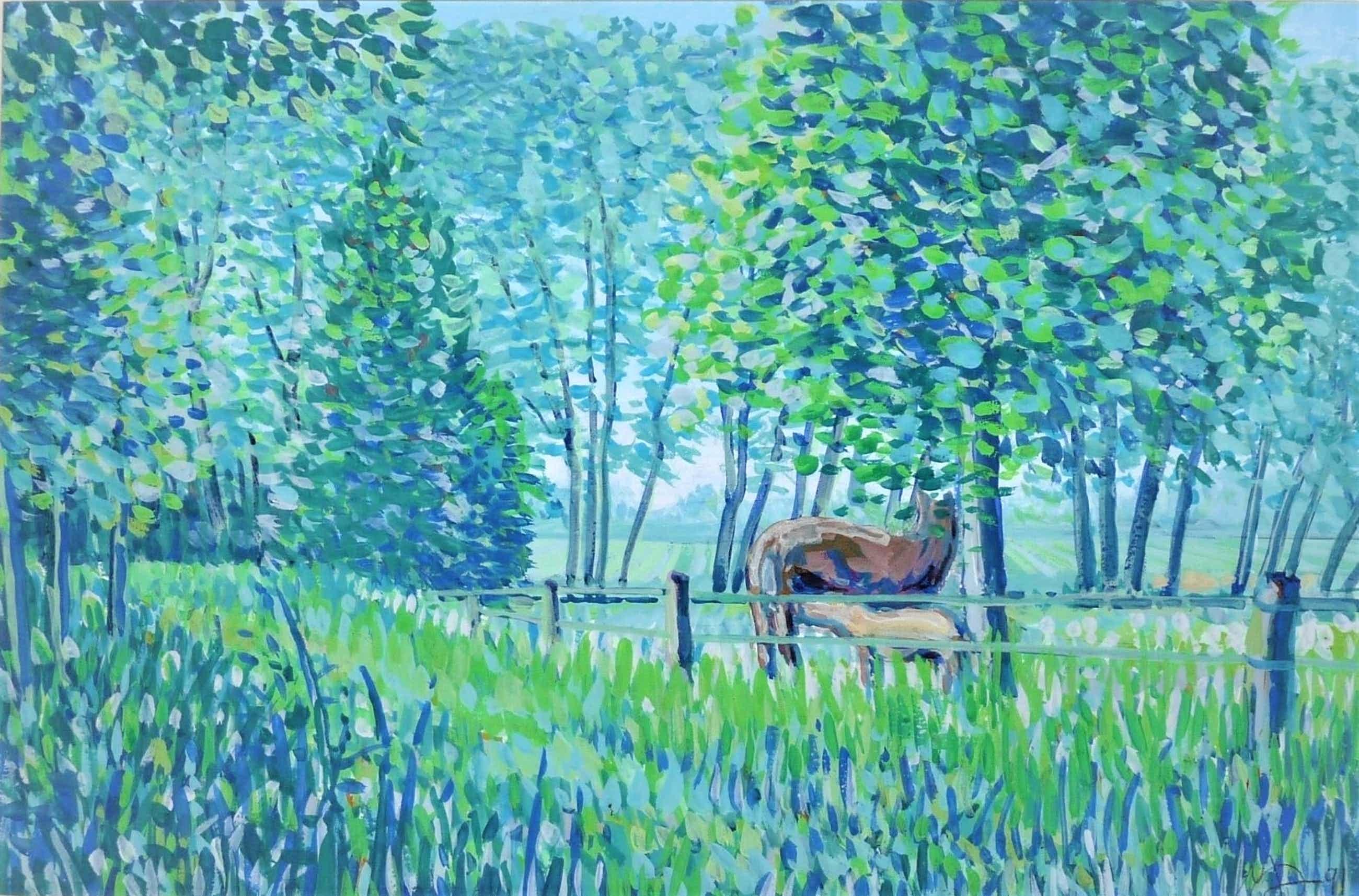 Jan Bernard Meinen - Luministisch landschap met bomen en paarden kopen? Bied vanaf 99!